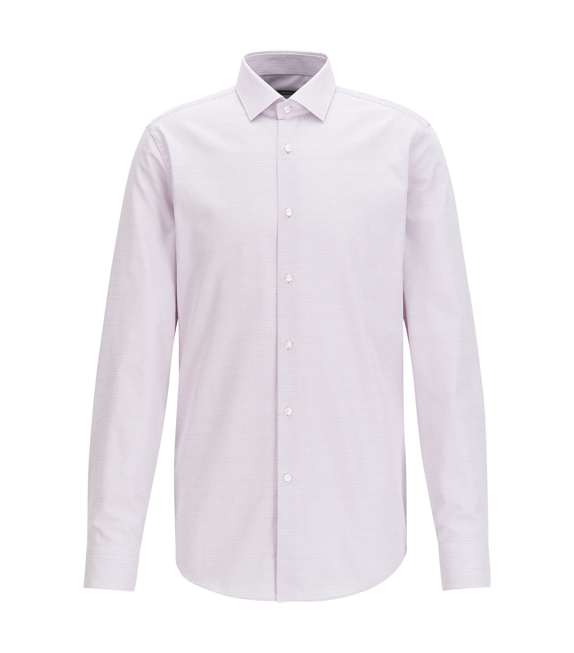 Slim-fit shirt in two-tone structured cotton, light pink