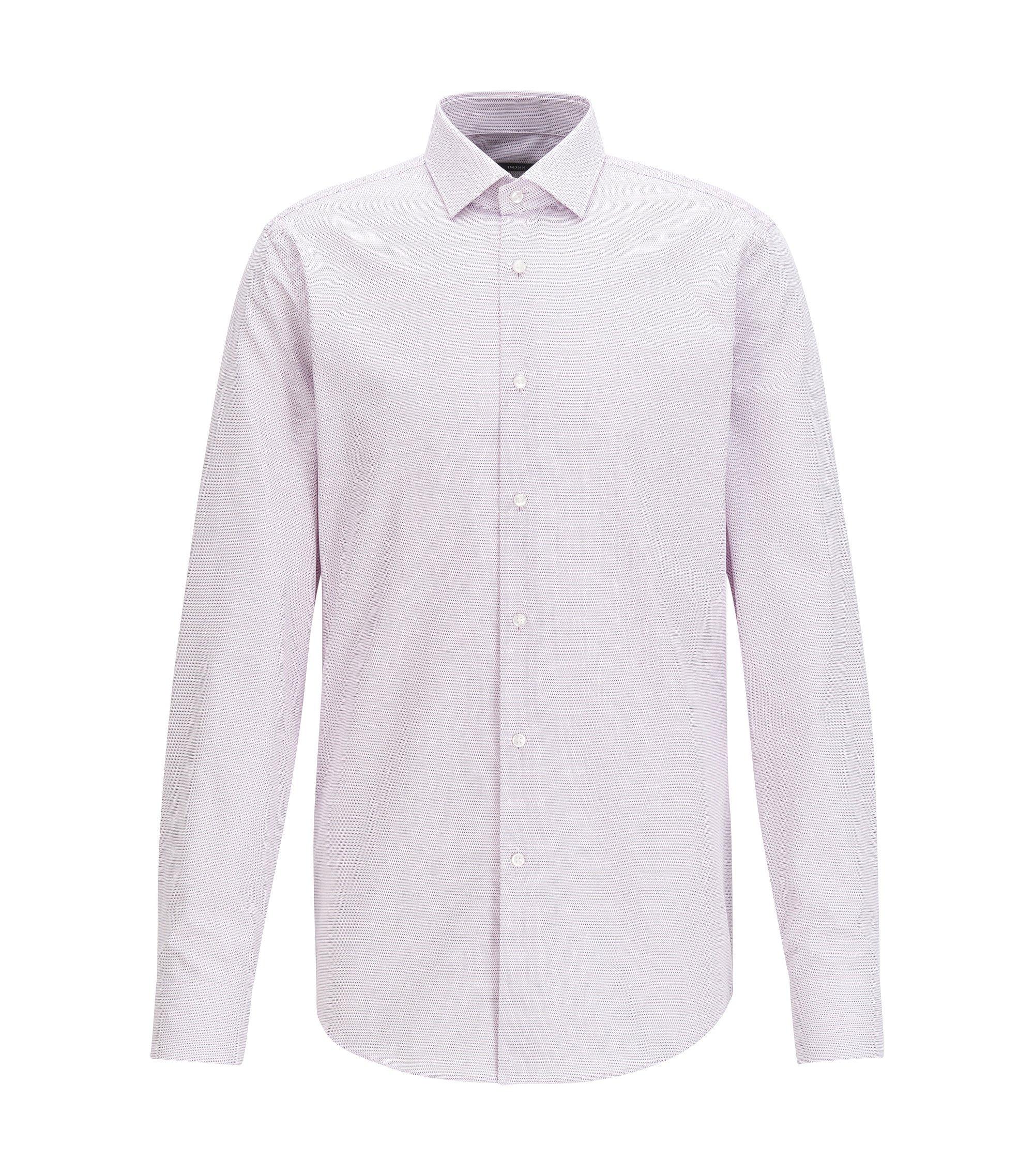 Camicia slim fit in cotone lavorato a due tonalità, Rosa chiaro