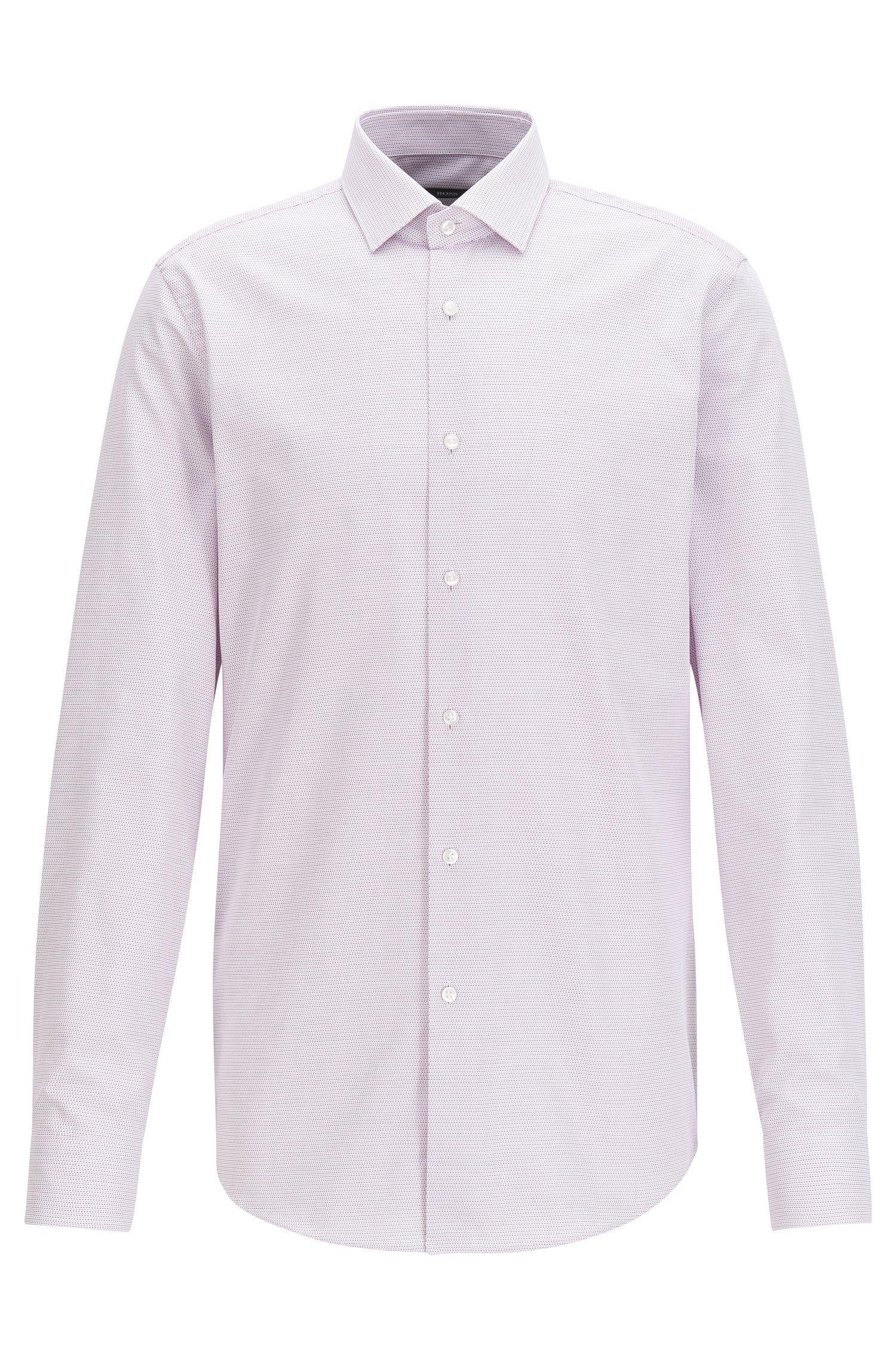 Camicia slim fit in cotone lavorato a due tonalità