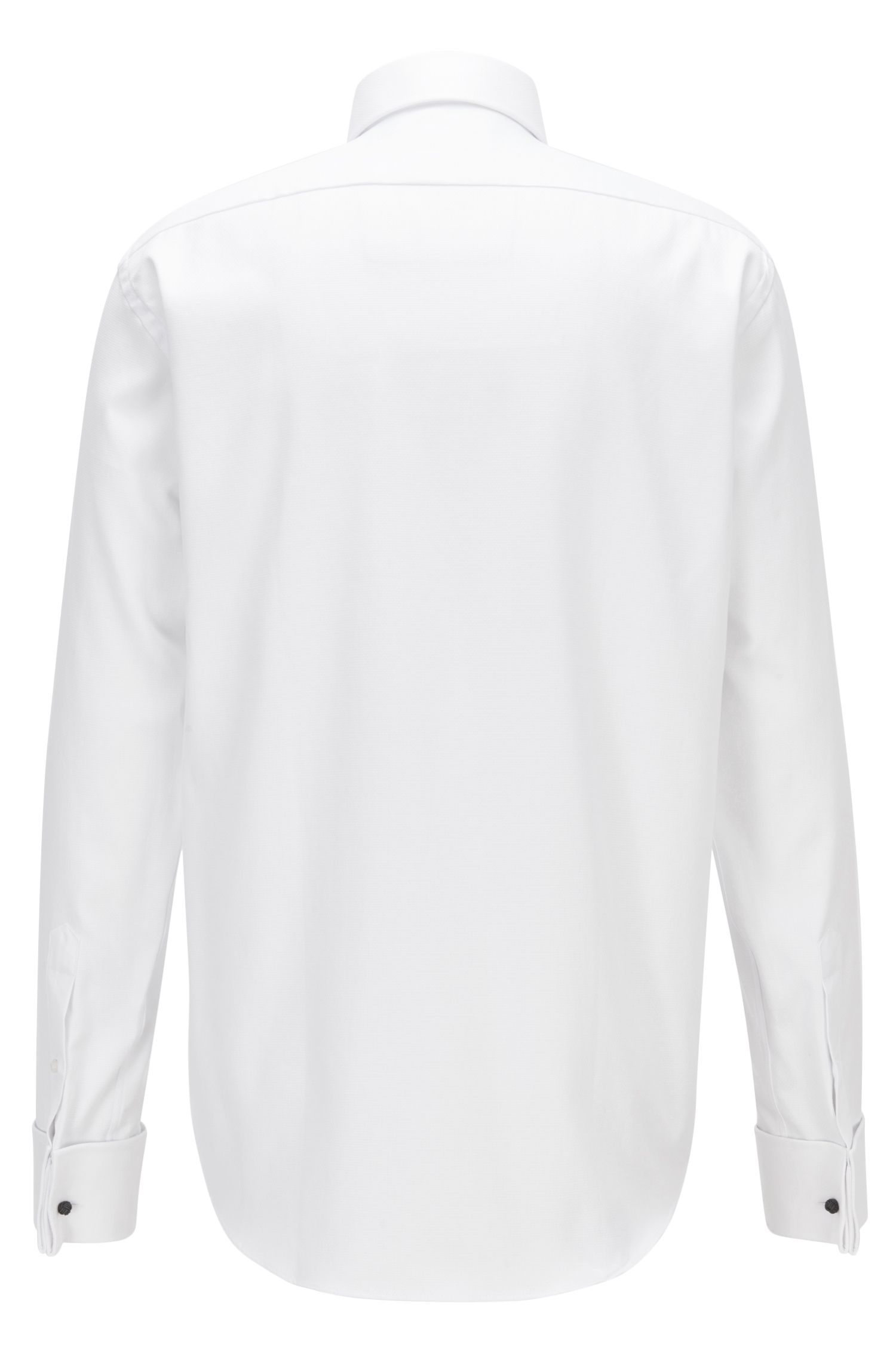Regular-fit business shirt in structured cotton
