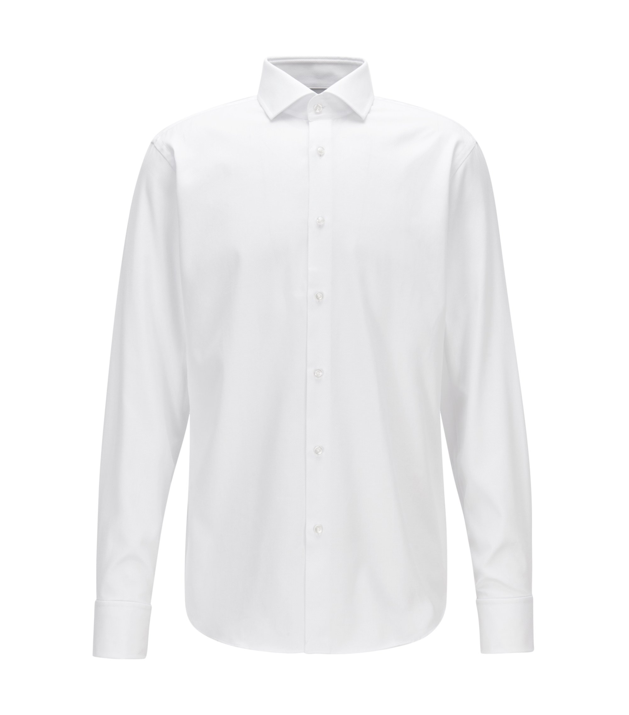 Chemise business Regular Fit en coton structuré, Blanc