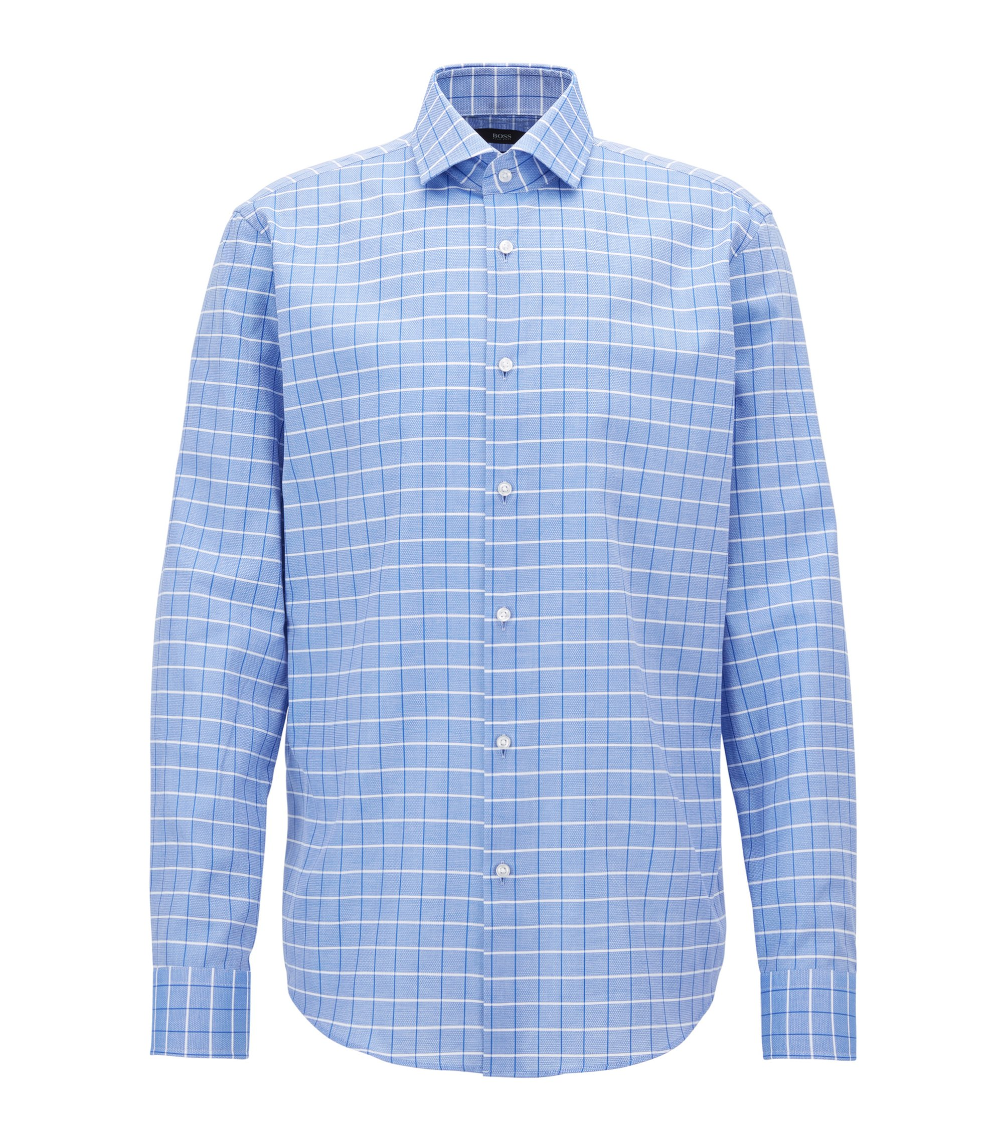 Regular-fit shirt in structured checked cotton, Blue