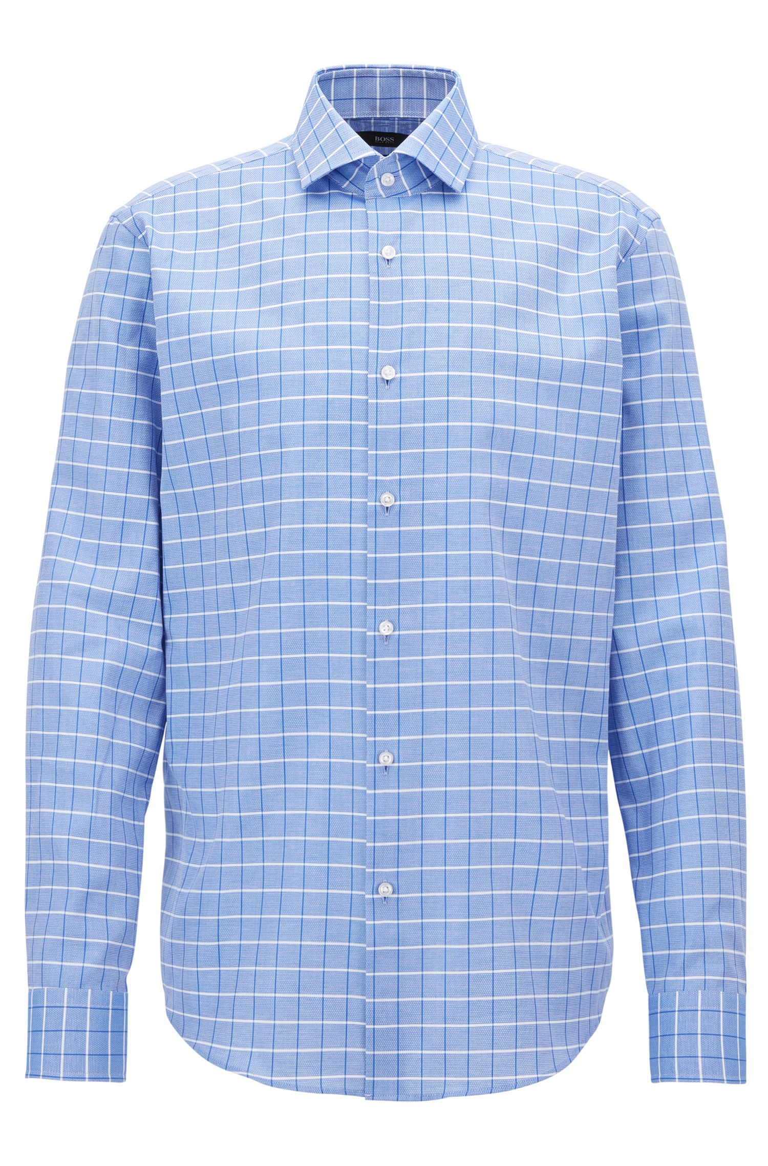 Regular-fit shirt in structured checked cotton
