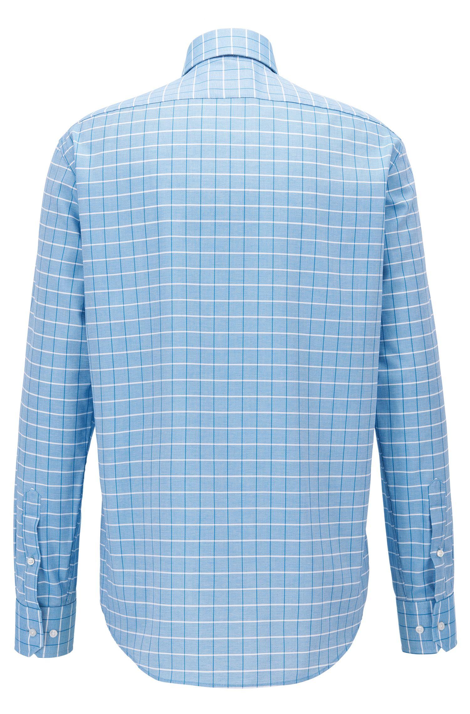 Regular-fit overhemd van gestructureerde, geruite katoen