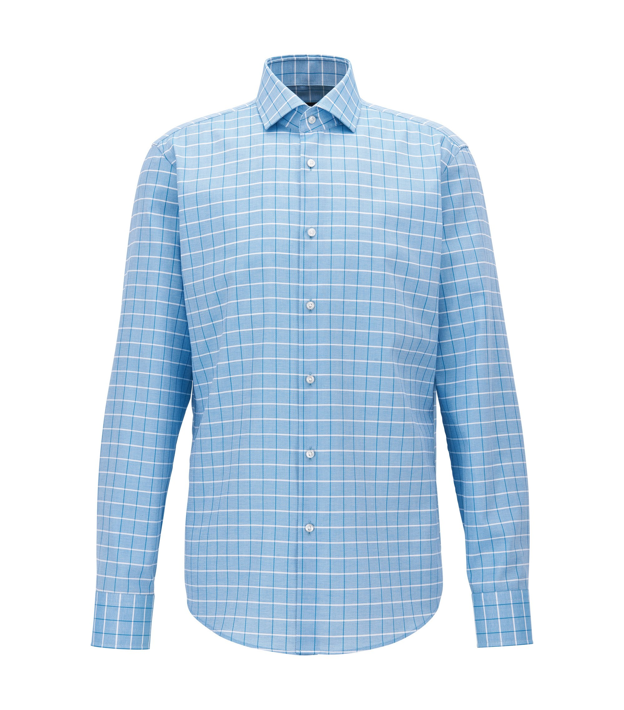 Regular-fit shirt in structured checked cotton, Turquesa