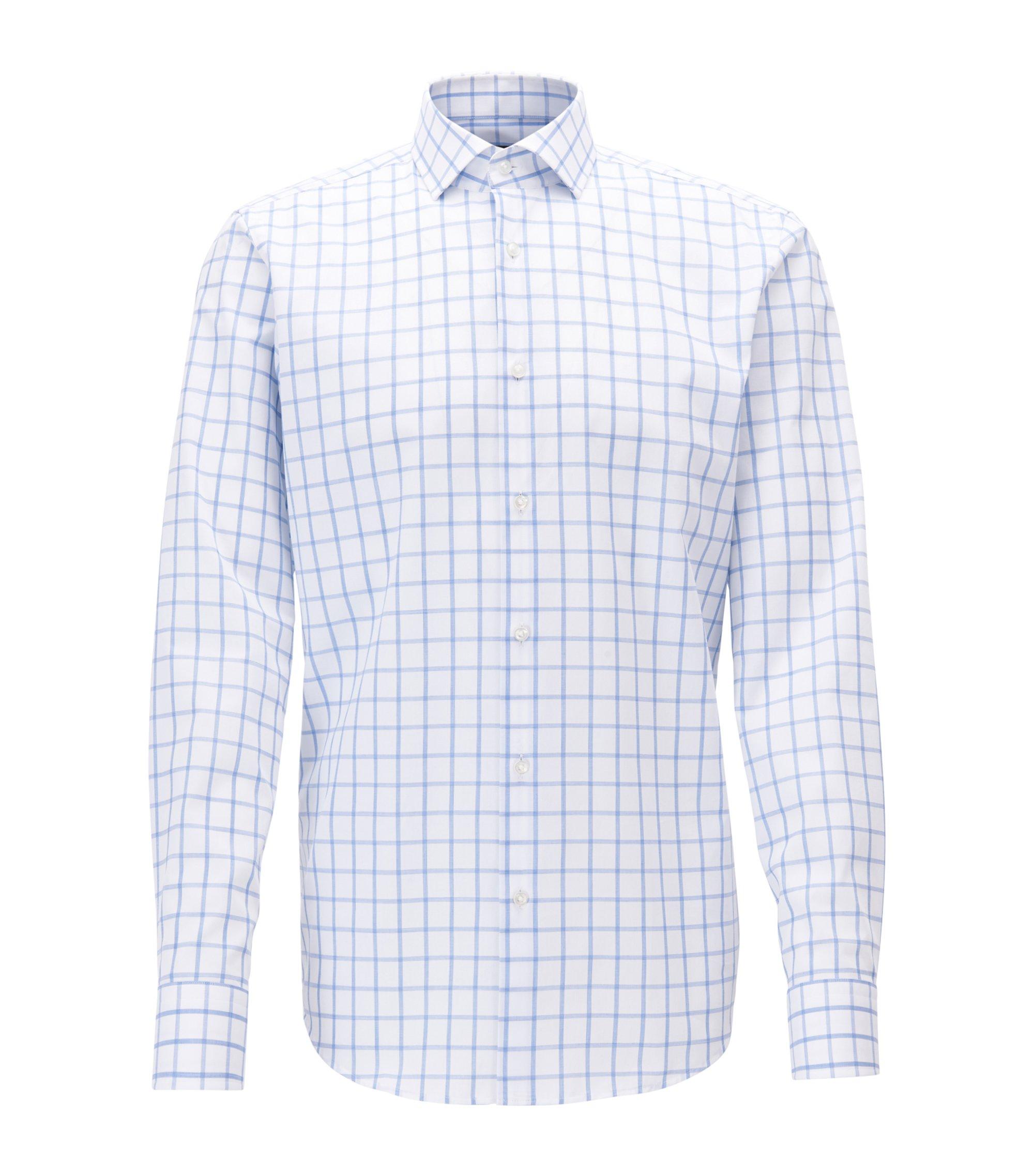 Regular-fit overhemd van katoen met ruitdessin, Blauw