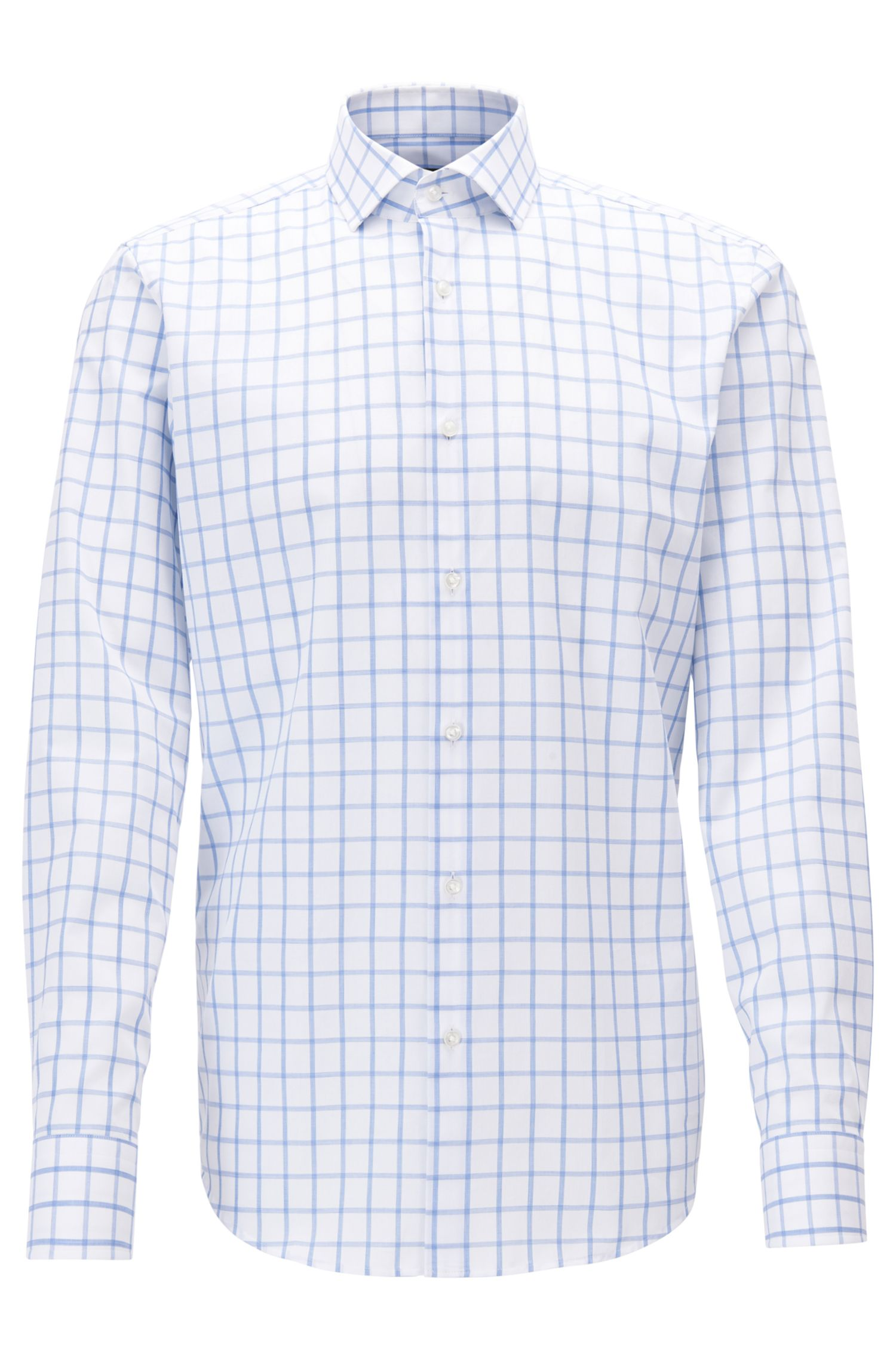 Chemise Regular Fit en coton, à carreaux unis