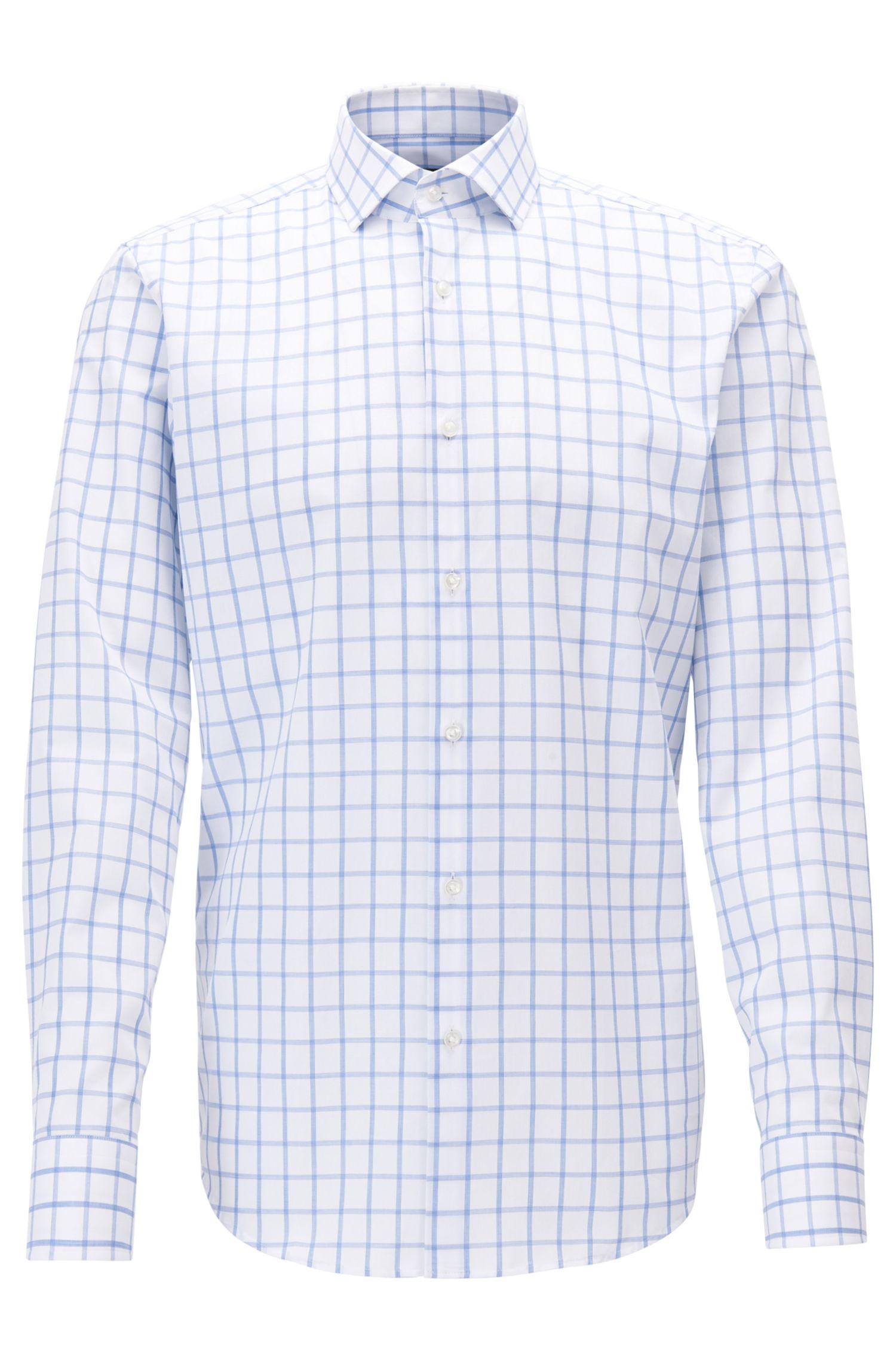 Regular-fit overhemd van katoen met ruitdessin