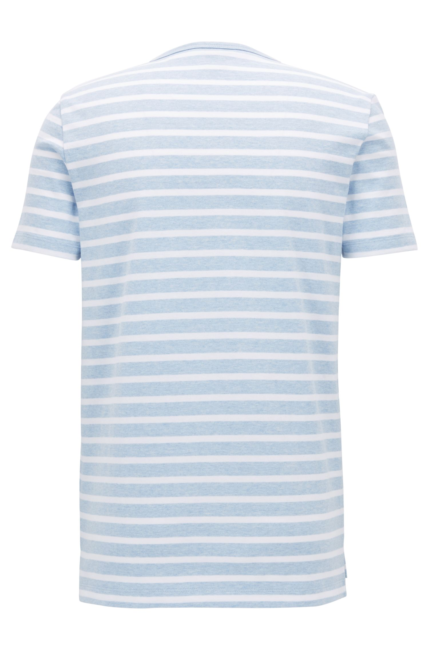 Striped crew-neck T-shirt in compact cotton