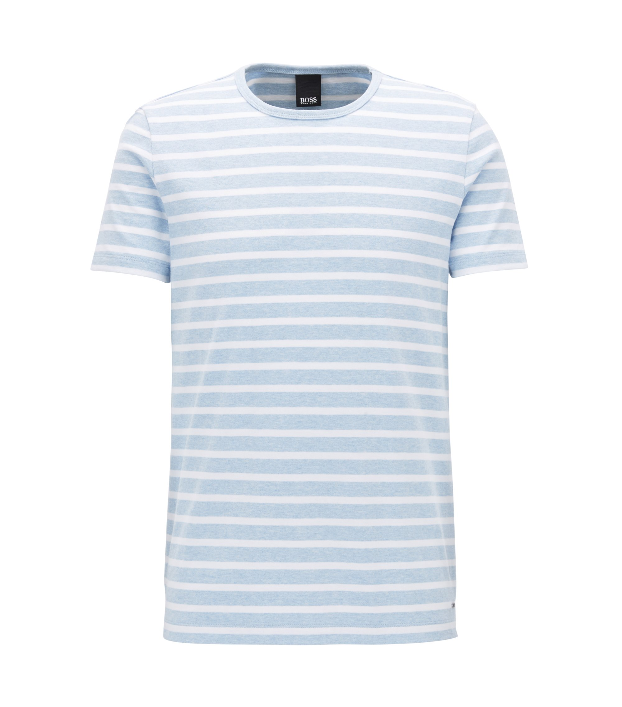 Striped crew-neck T-shirt in compact cotton, Dark Blue