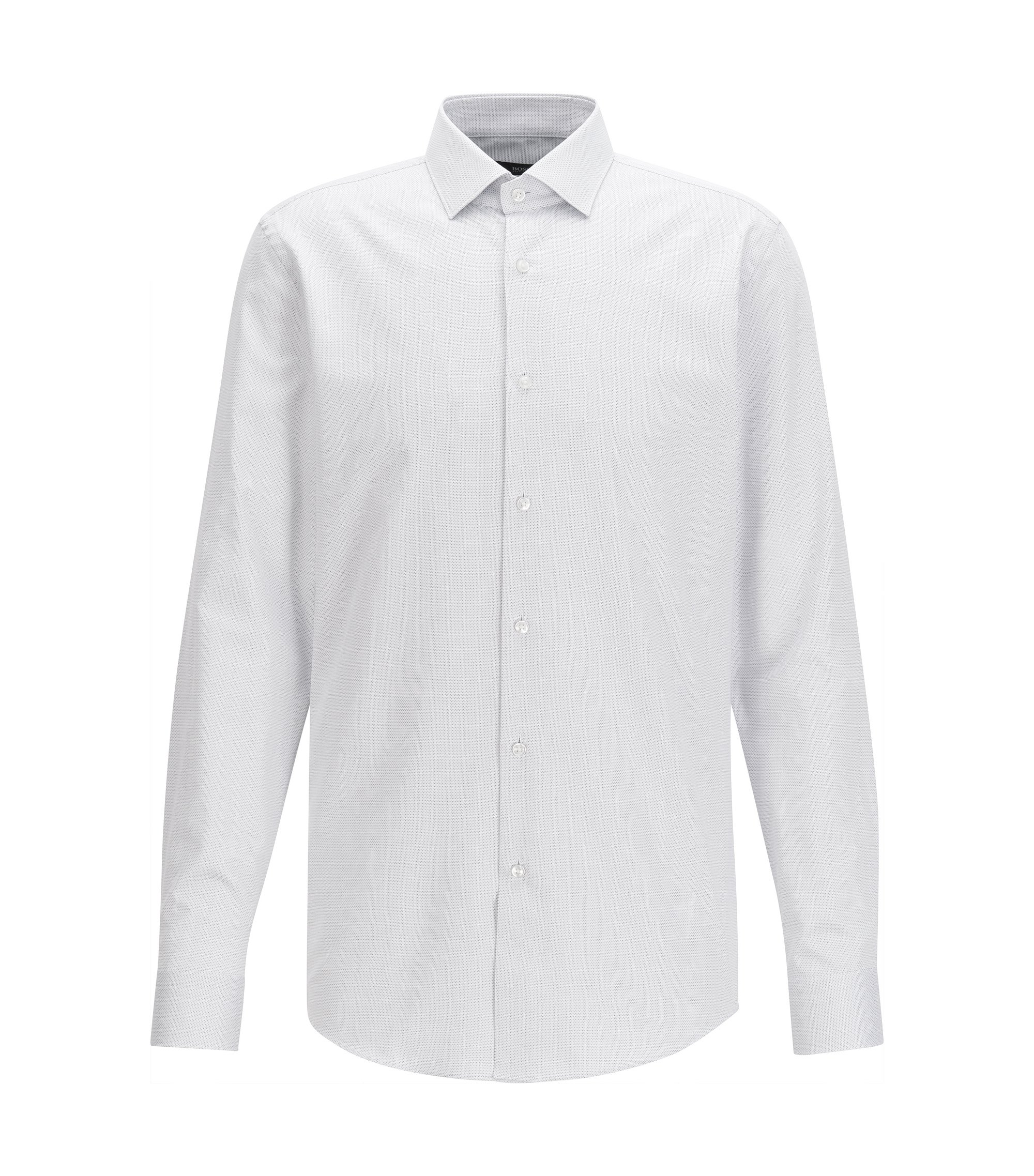 Slim-fit dot-patterned shirt in yarn-dyed cotton twill, White