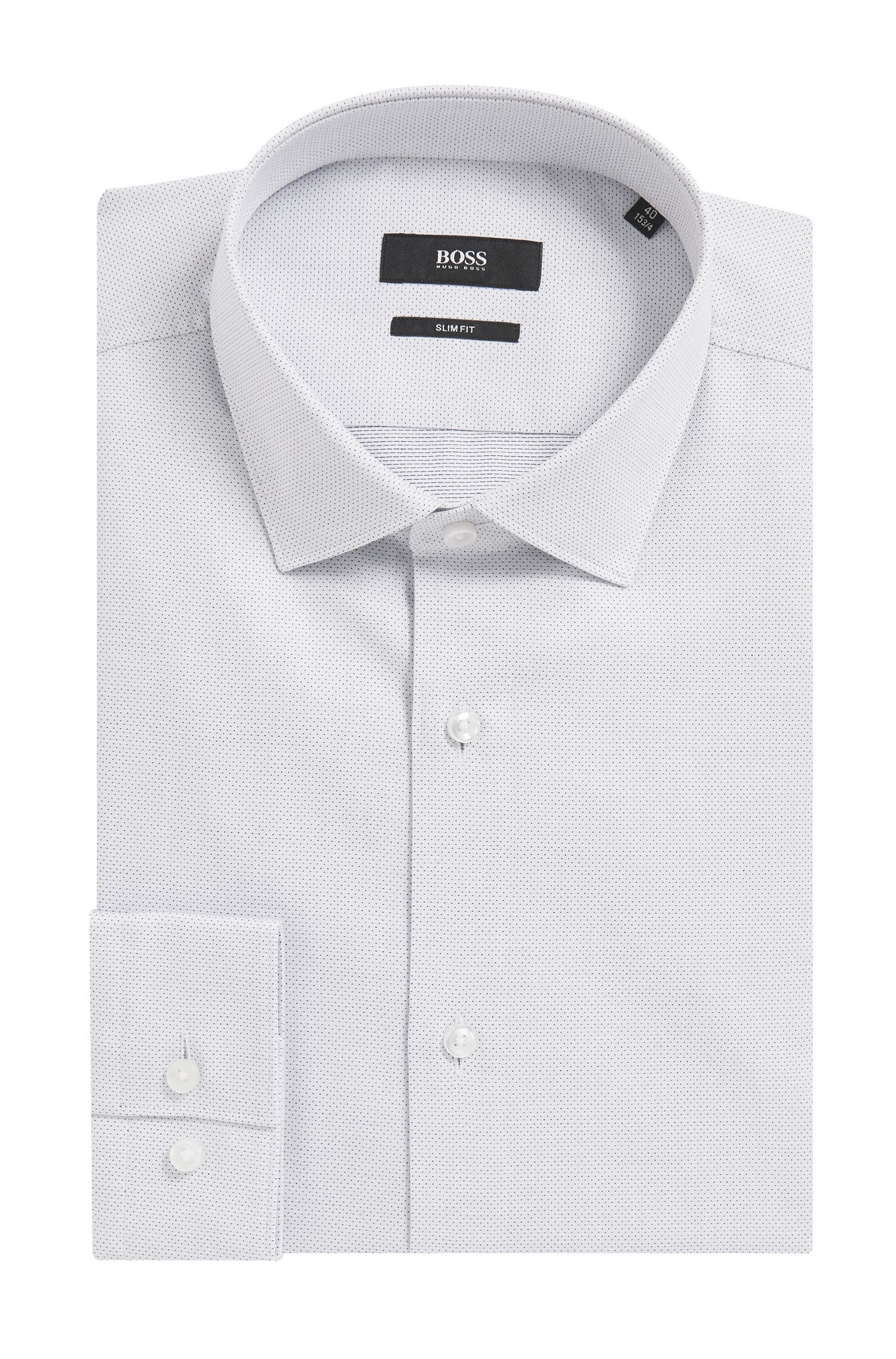Slim-fit dot-patterned shirt in yarn-dyed cotton twill