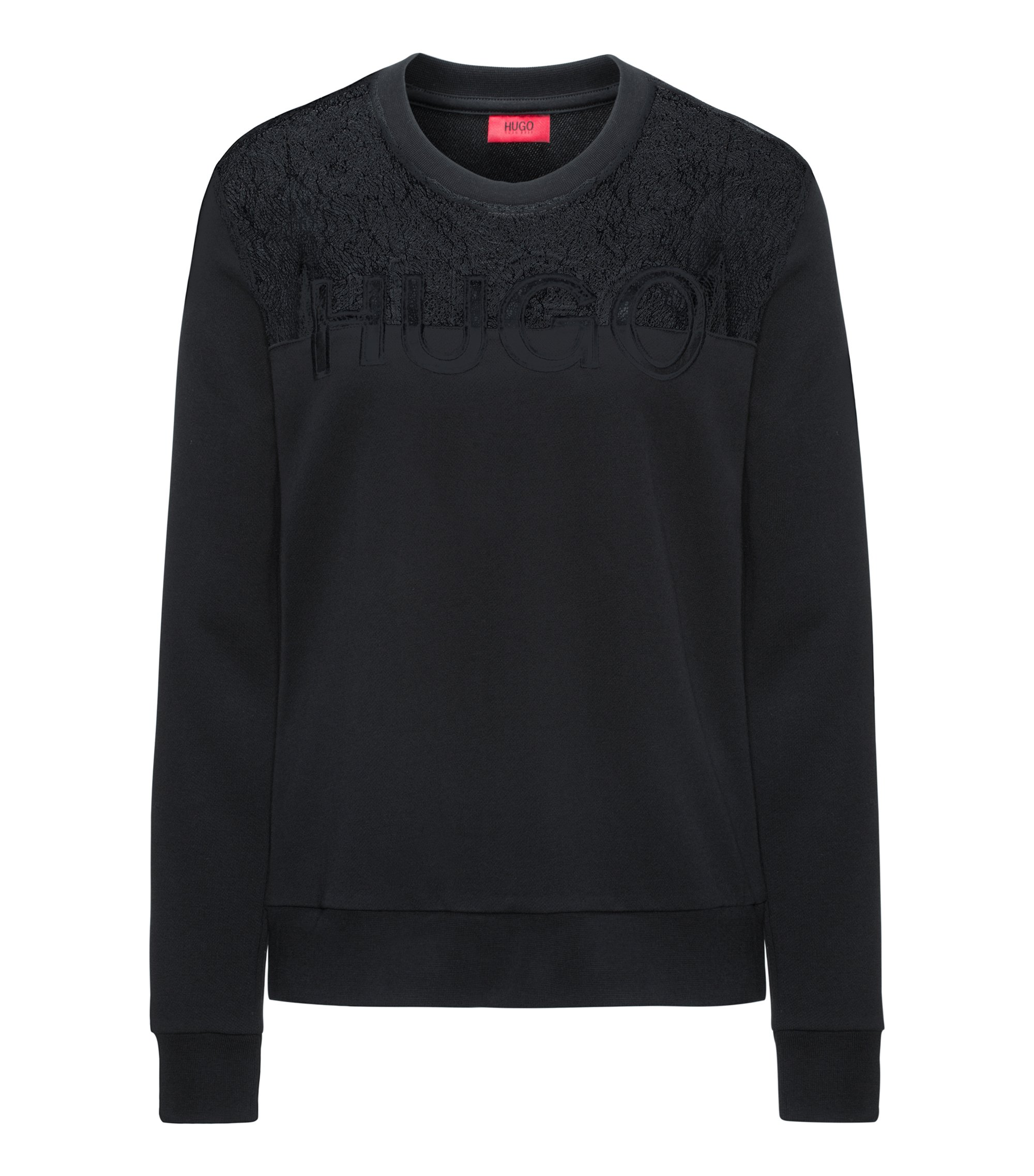 Cotton-blend logo sweater with lace yoke, Black