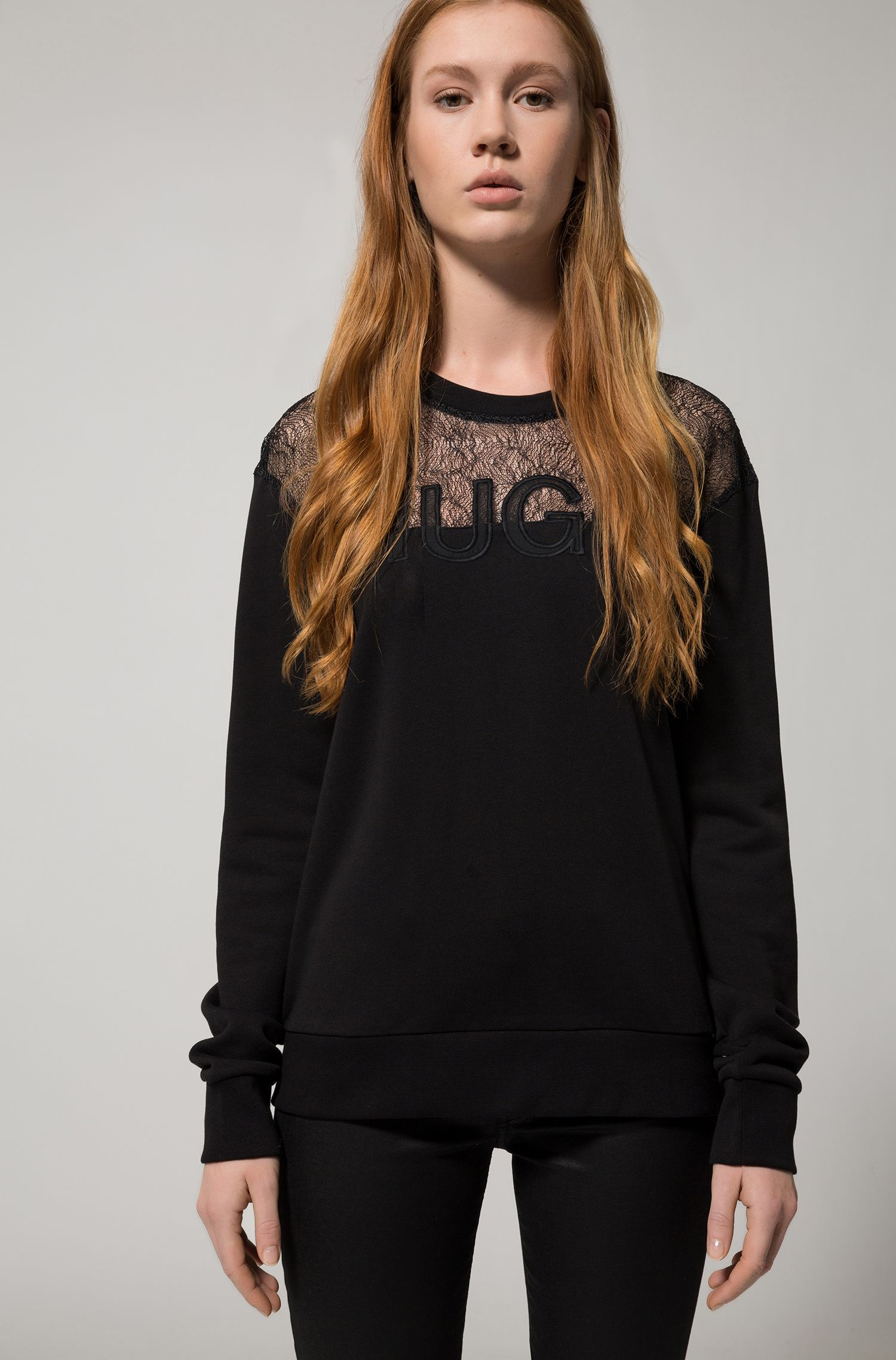 Cotton-blend logo sweater with lace yoke