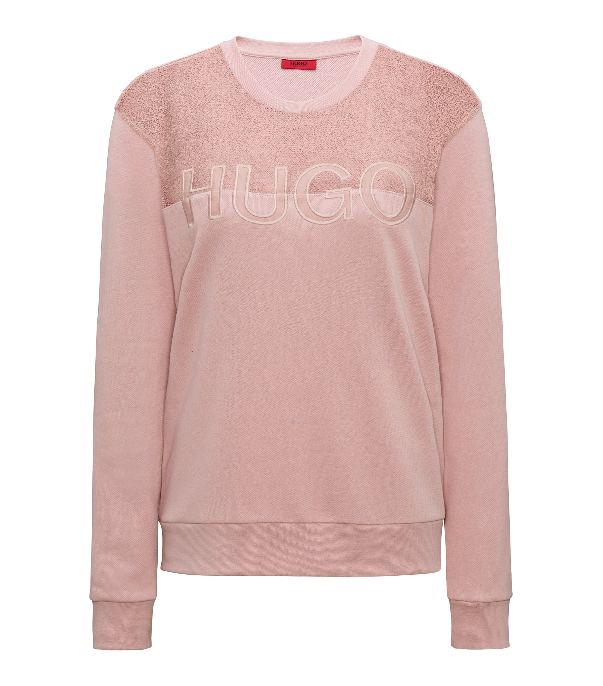 Cotton-blend logo sweater with lace yoke, light pink