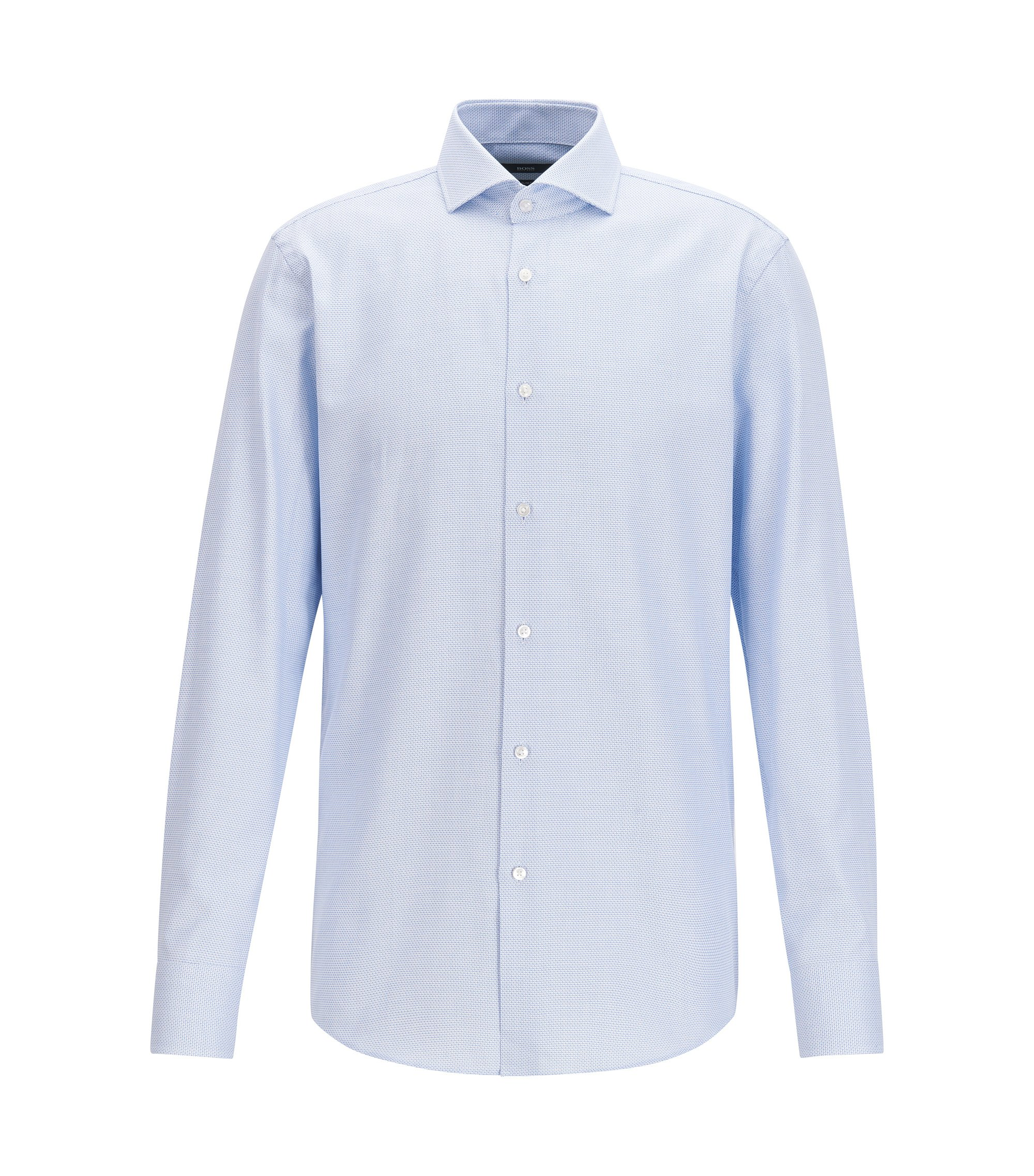Slim-fit micro-structure shirt in yarn-dyed cotton, Light Blue