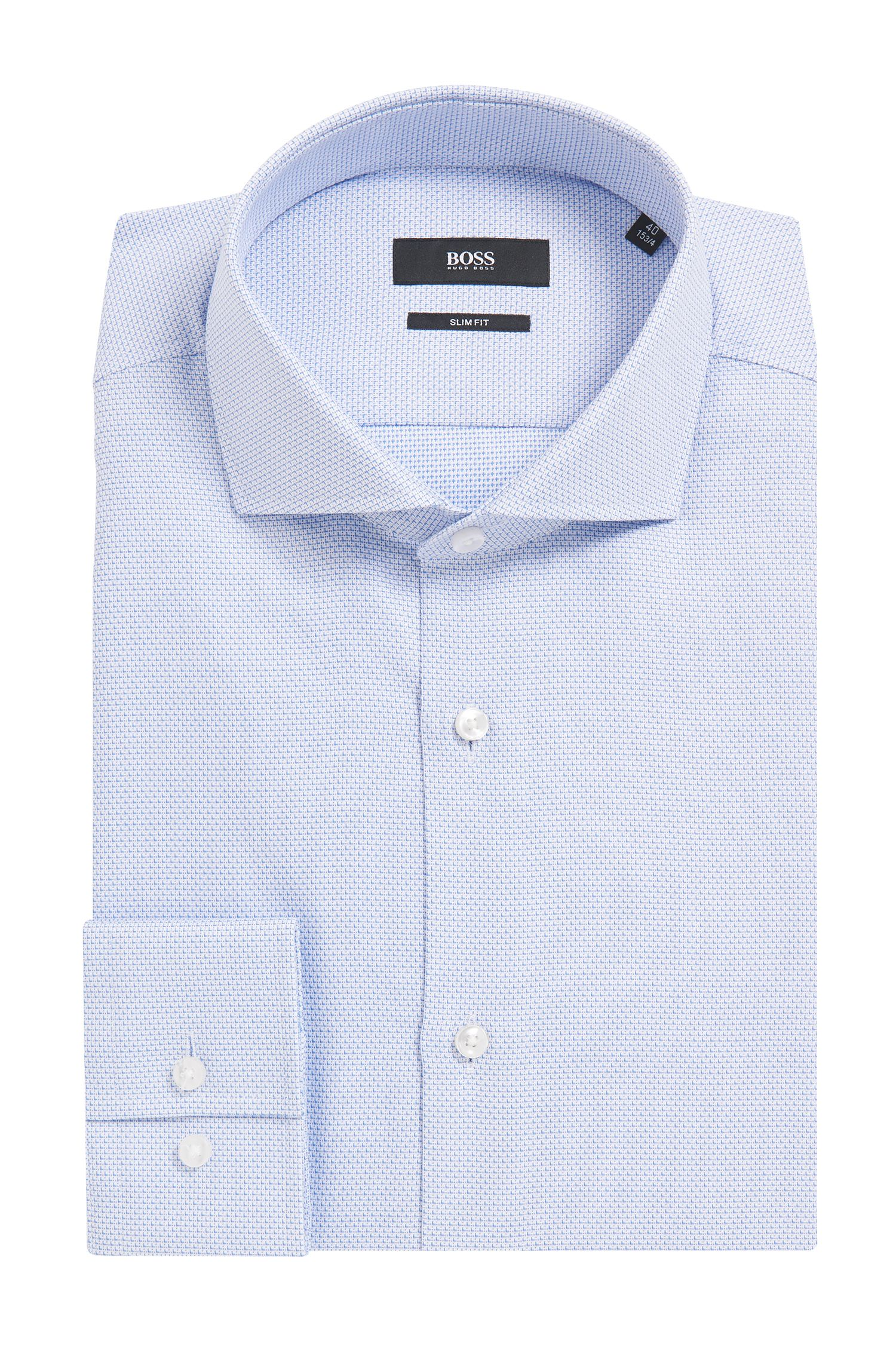 Slim-fit micro-structure shirt in yarn-dyed cotton