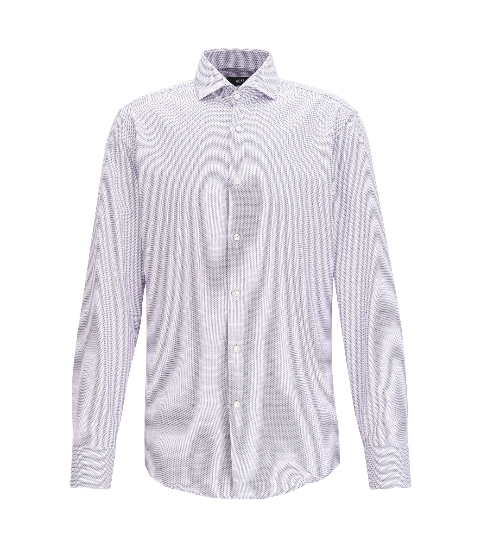 Slim-fit micro-structure shirt in yarn-dyed cotton, Light Purple