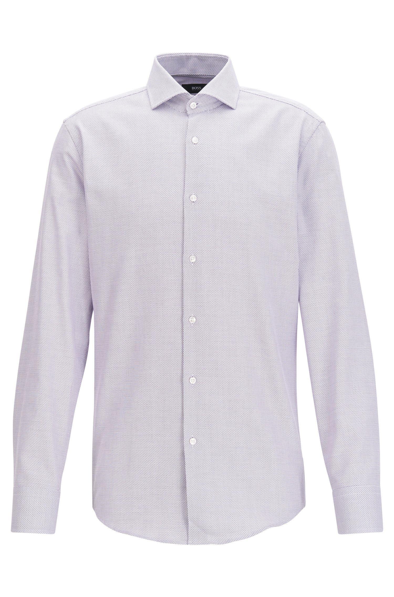 Camicia slim fit in cotone tinto in filo con microlavorazione