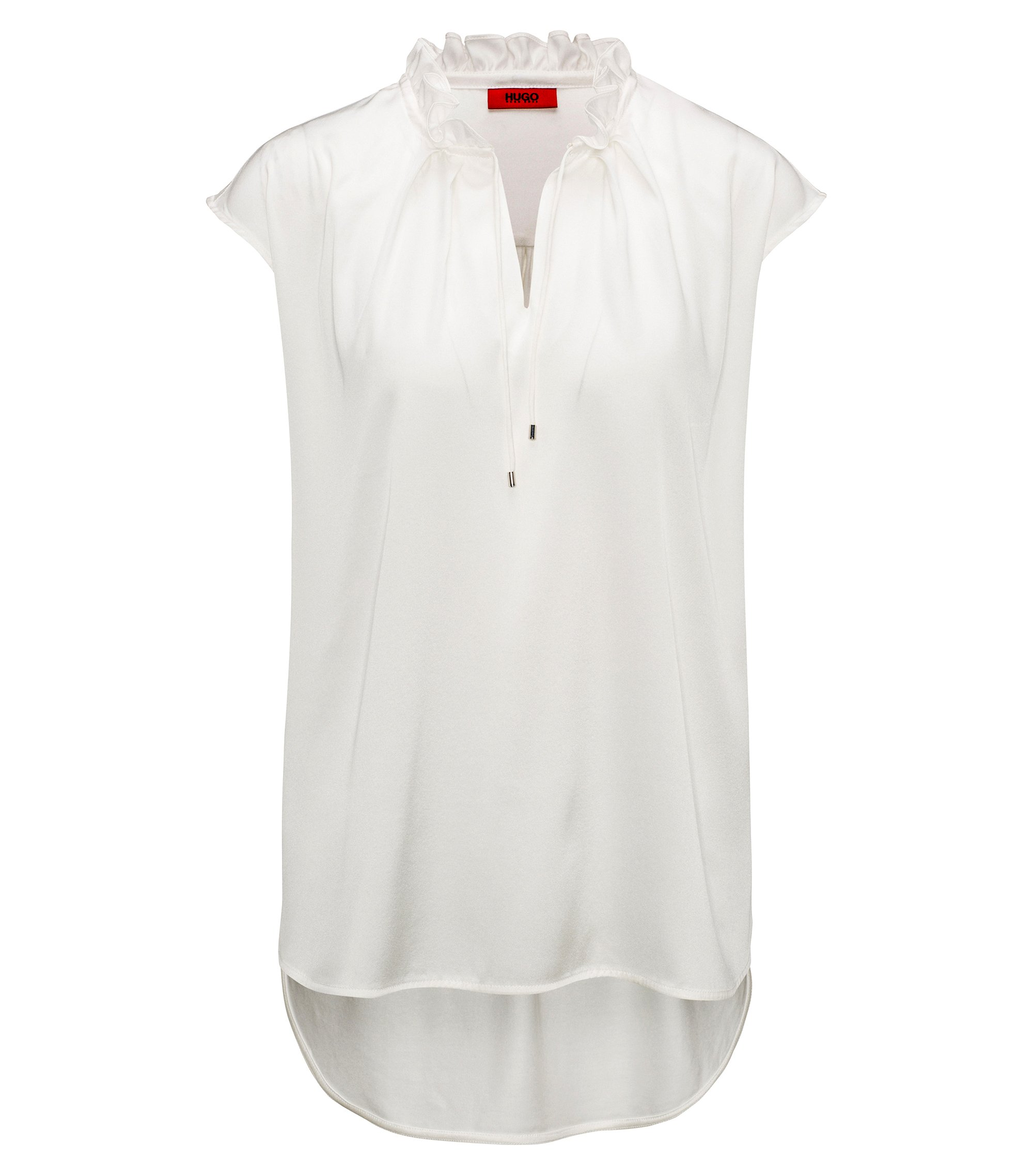 Ruffle-collar top with stretch-silk front panel, Natural