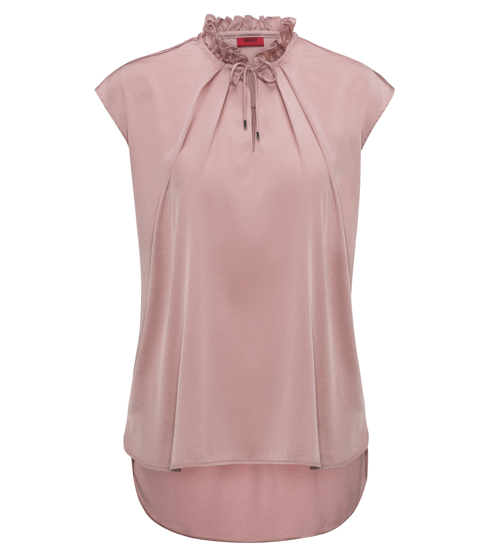 Ruffle-collar top with stretch-silk front panel, light pink