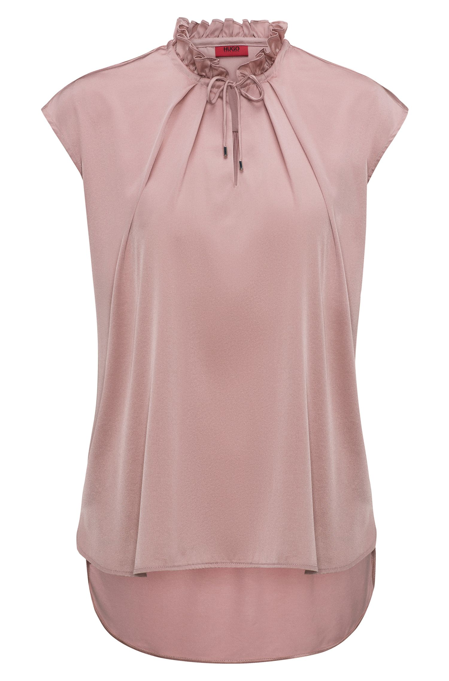 Ruffle-collar top with stretch-silk front panel