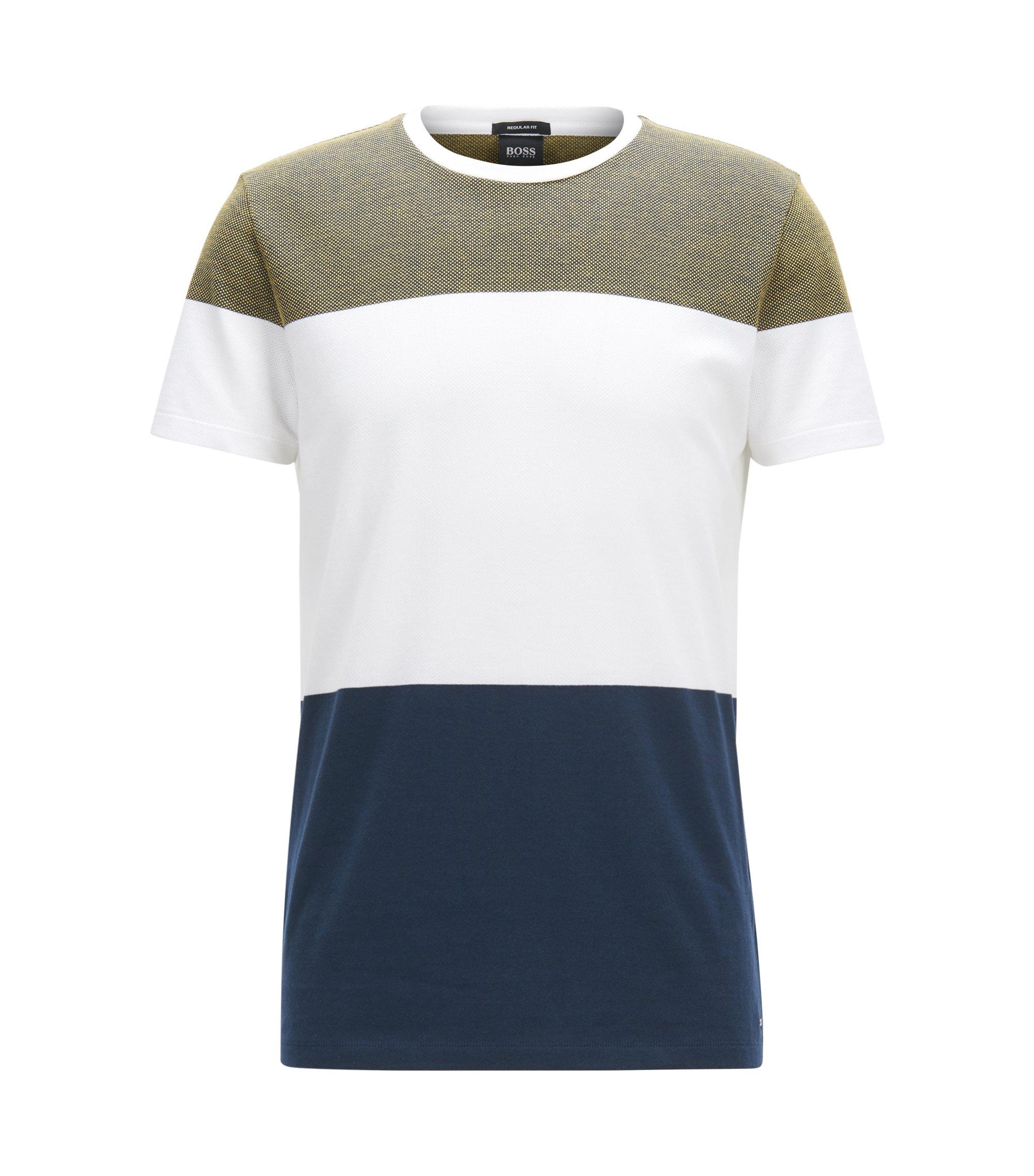 T-shirt Slim Fit bicolore en coton à bandes, Bleu foncé