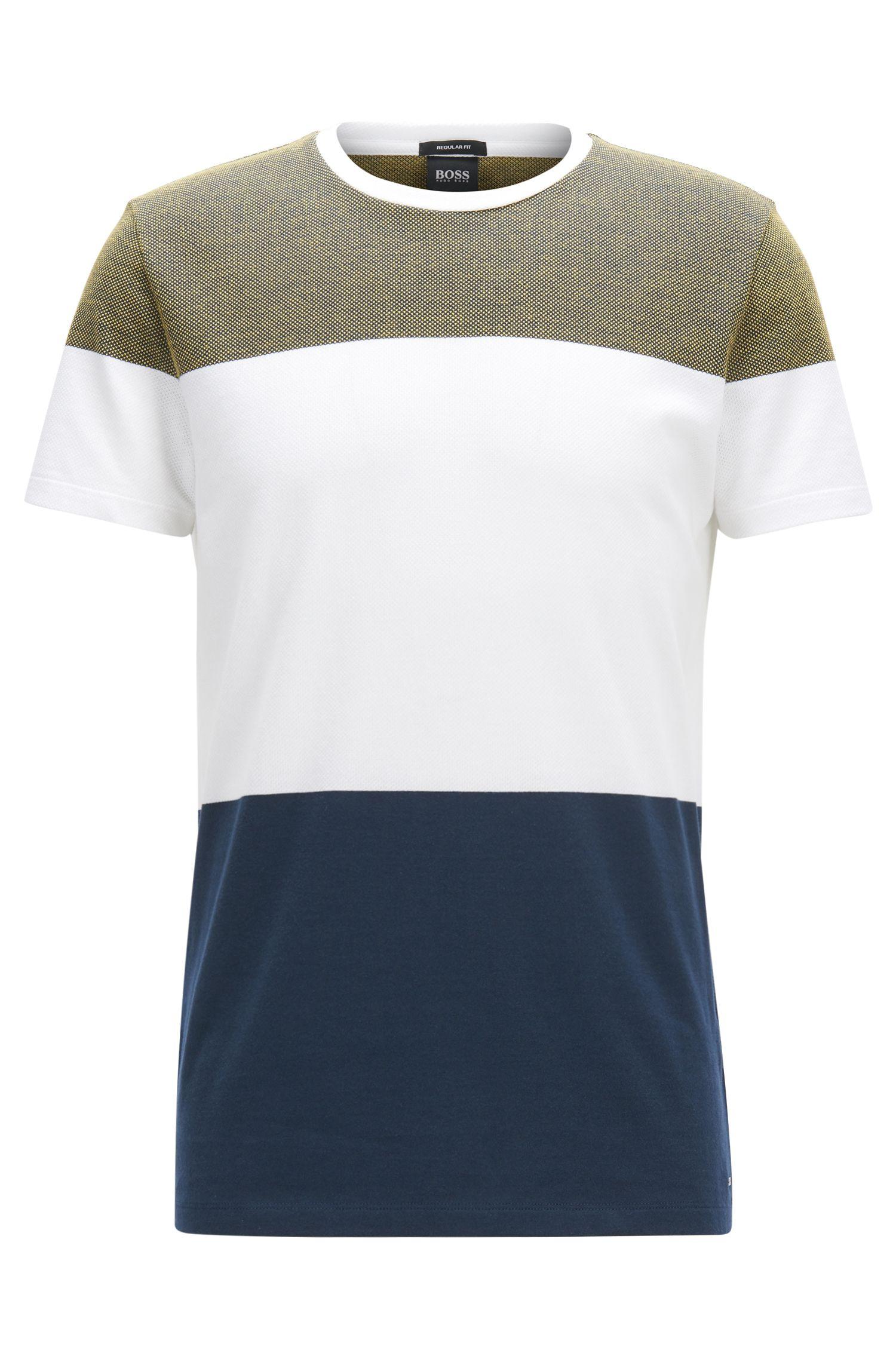 T-shirt Slim Fit bicolore en coton à bandes