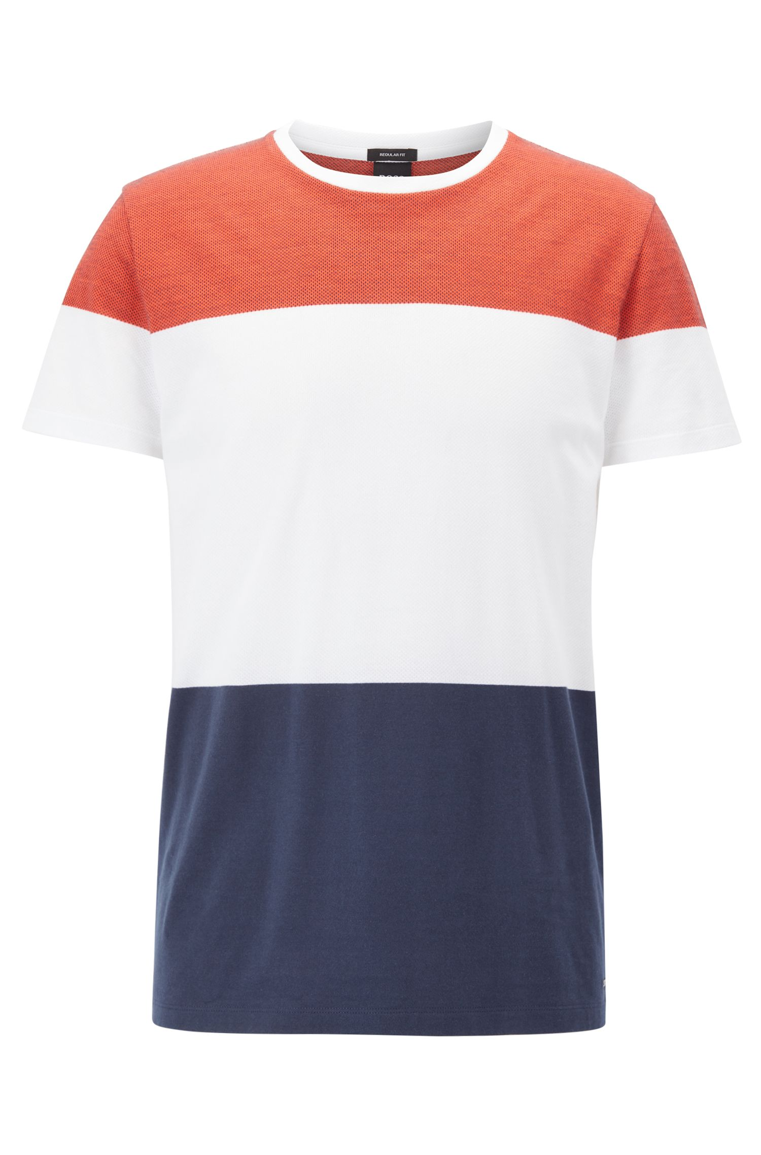 Two-tone cotton T-shirt with engineered stripe