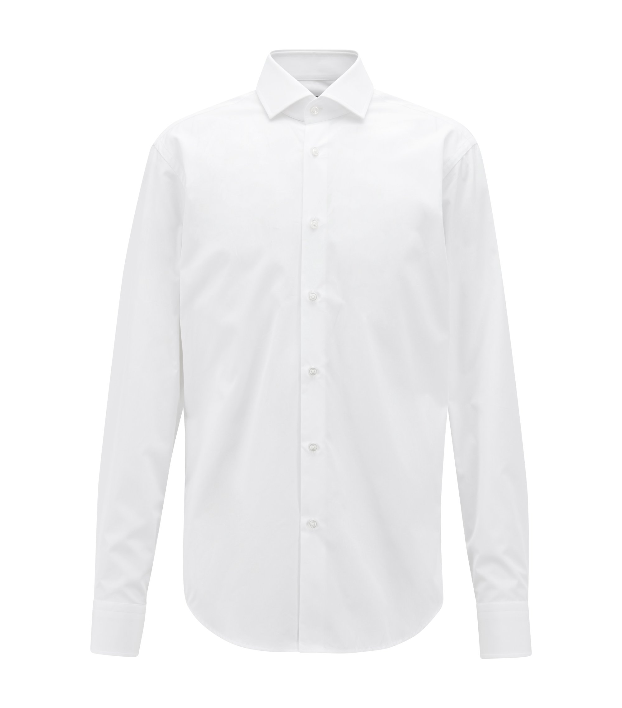 Regular-fit shirt in two-ply Italian cotton , White