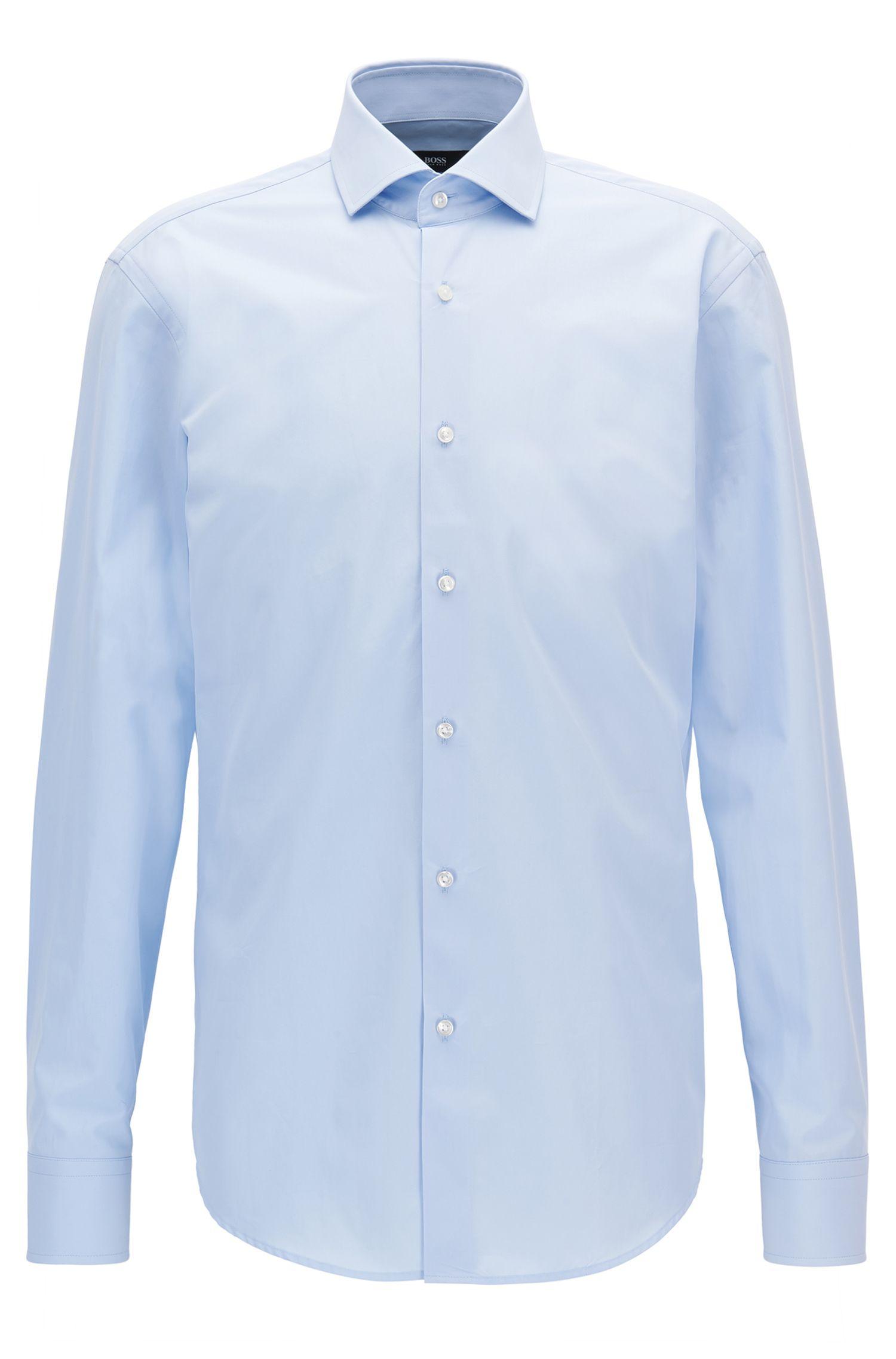 Camisa regular fit en algodón italiano de dos capas