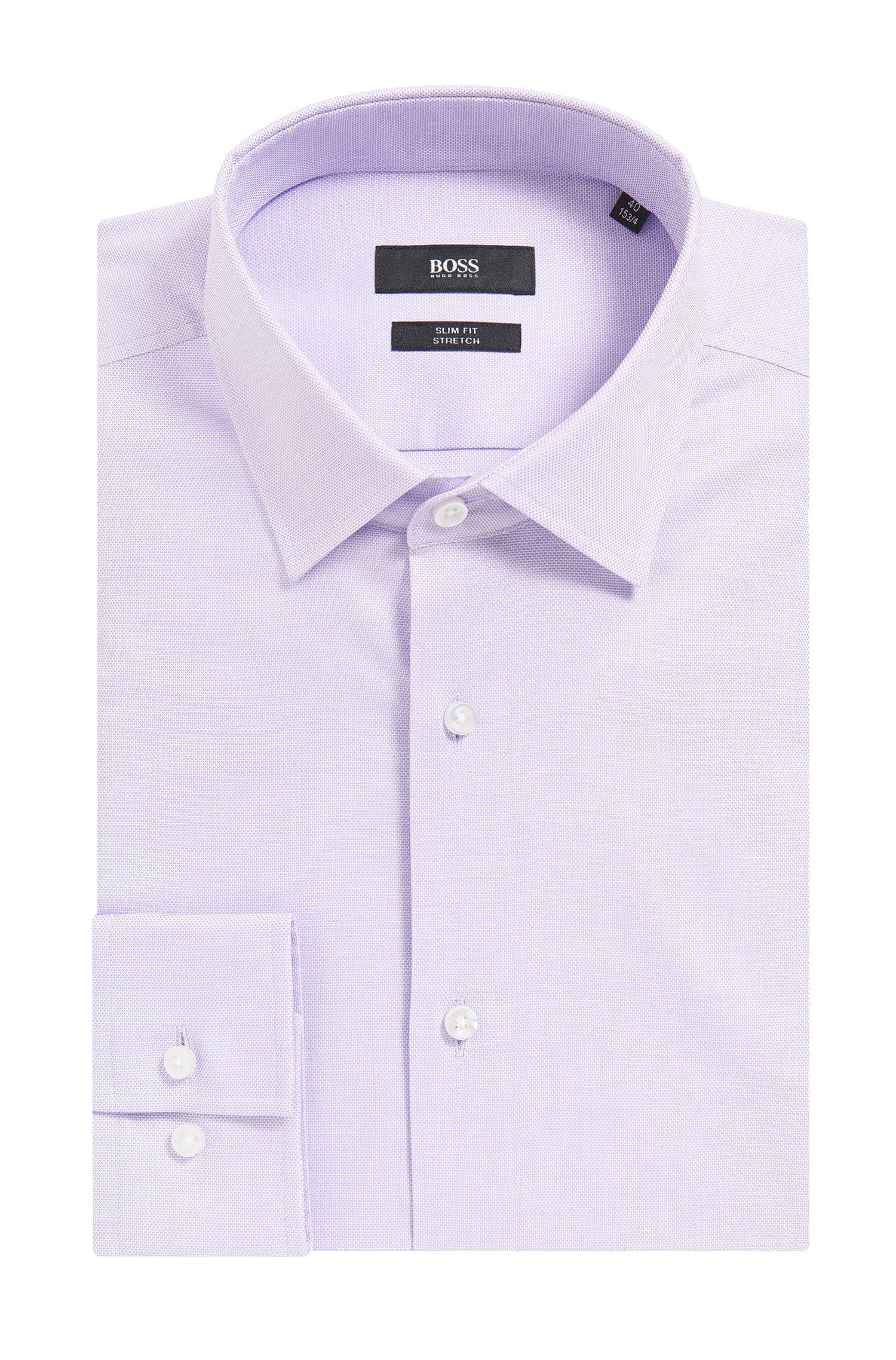 Camisa slim fit en algodón elástico con microestampado