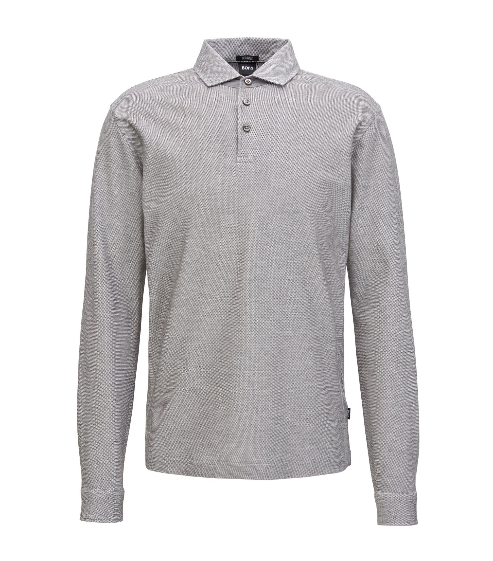 Langärmeliges Poloshirt aus merzerisierter Baumwolle, Grau