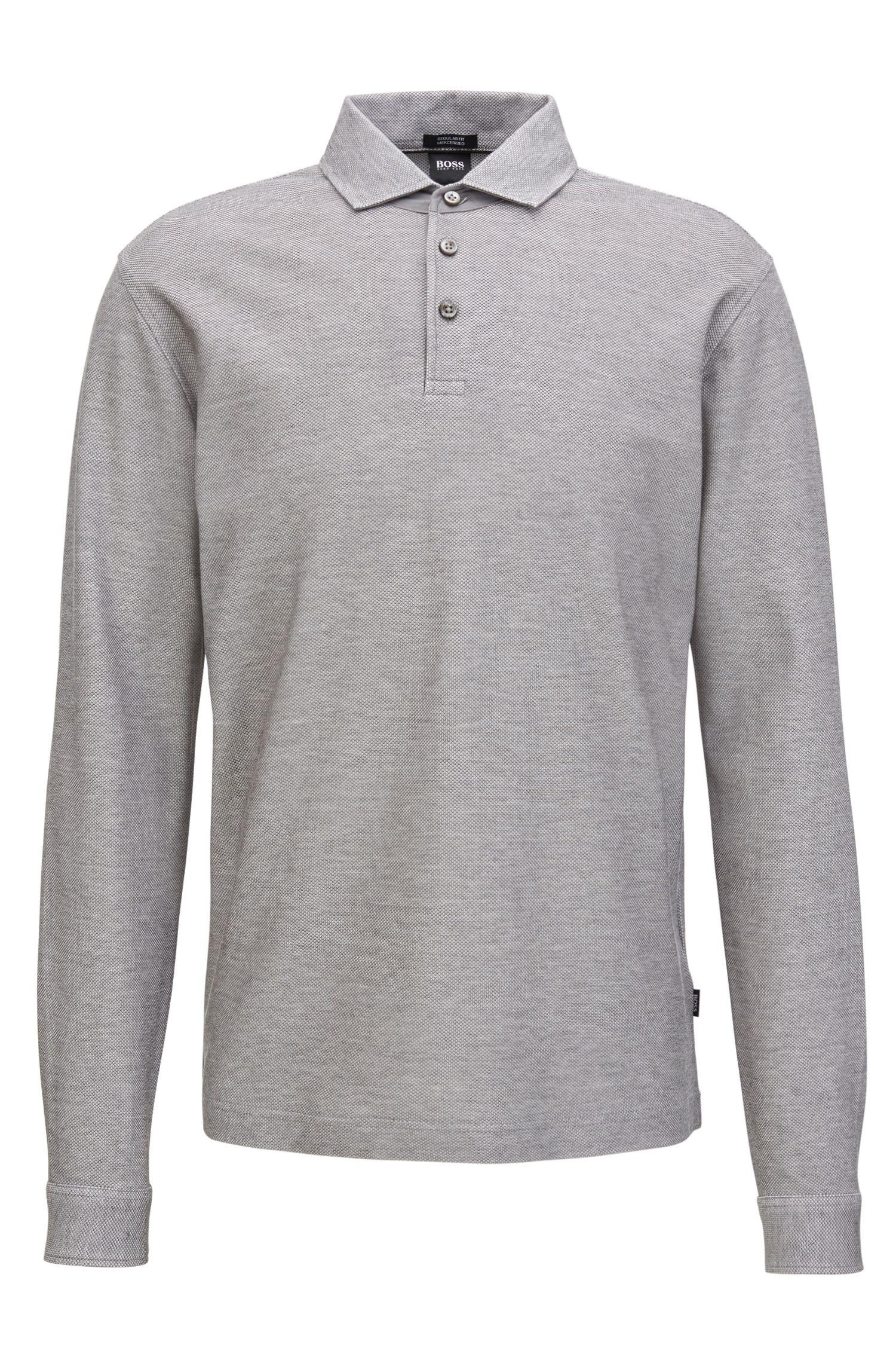 Langärmeliges Poloshirt aus merzerisierter Baumwolle