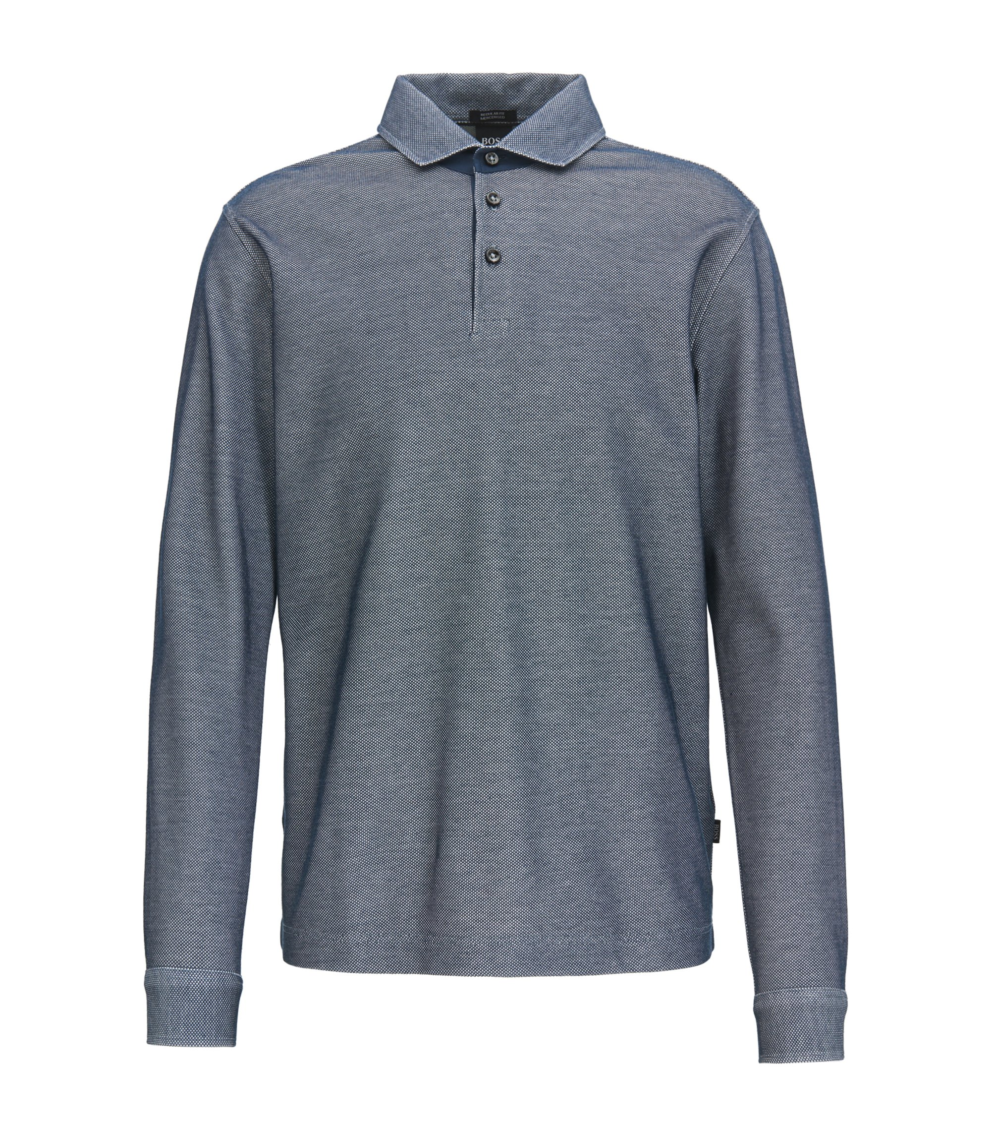 Polo shirt in two-tone mercerised cotton, Dark Blue