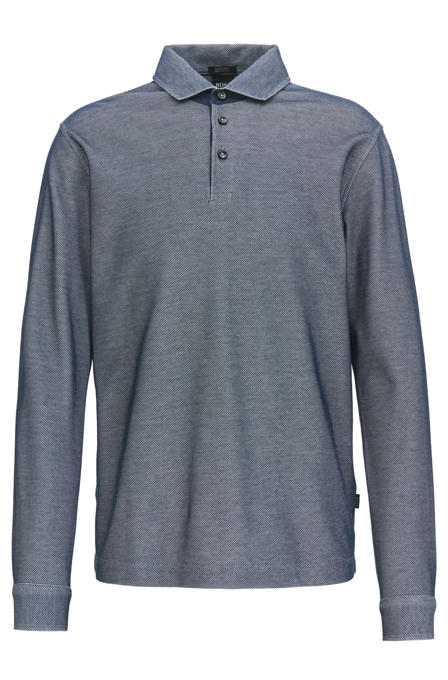 Polo shirt in two-tone mercerised cotton