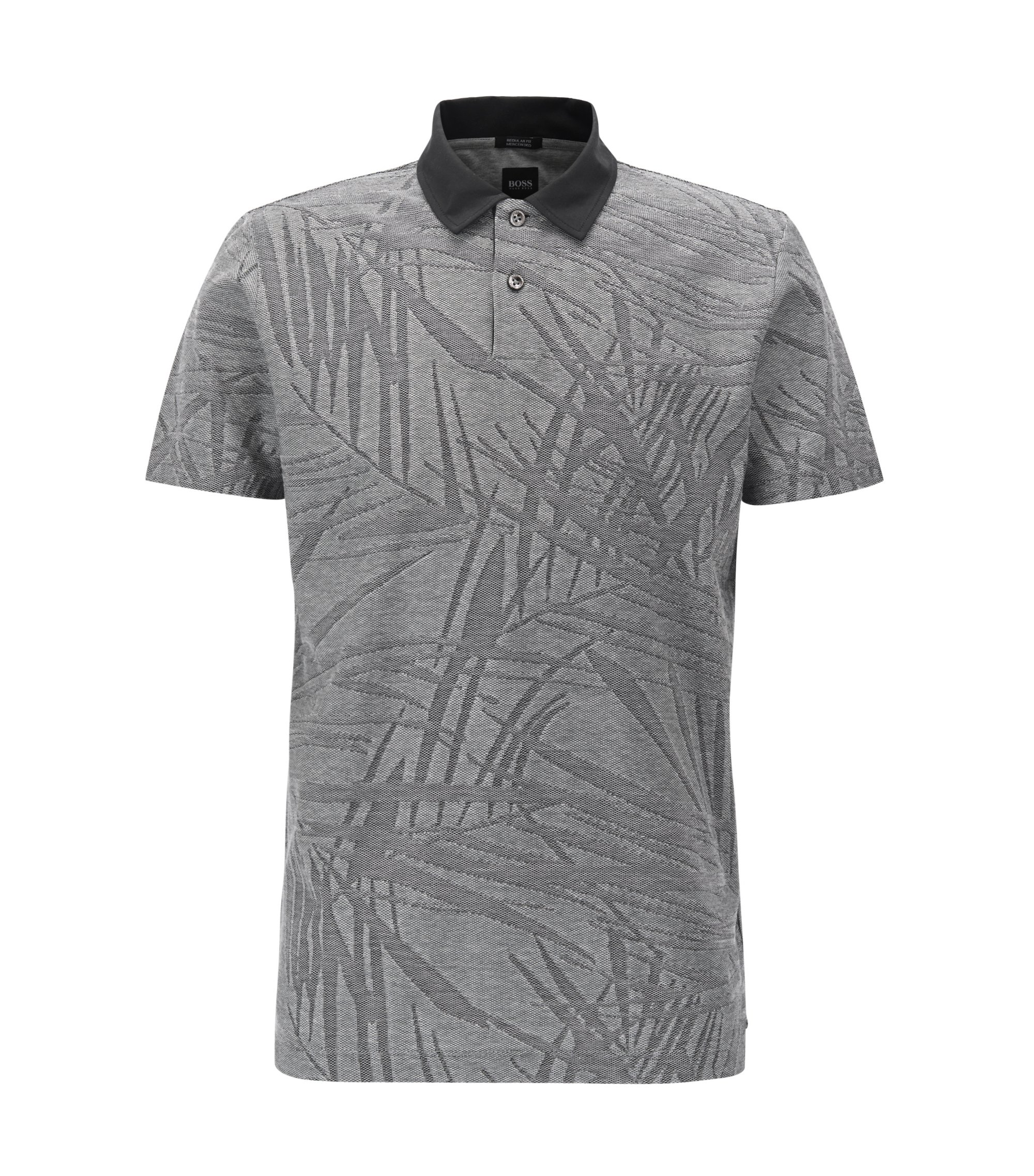 Polo en jacquard de coton mercerisé à motif palmier, Noir
