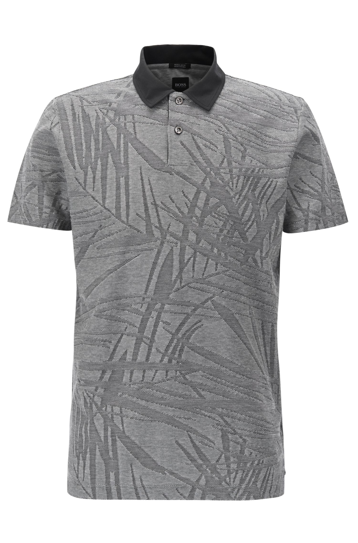 Palm-tree-pattern polo shirt in mercerised cotton jacquard
