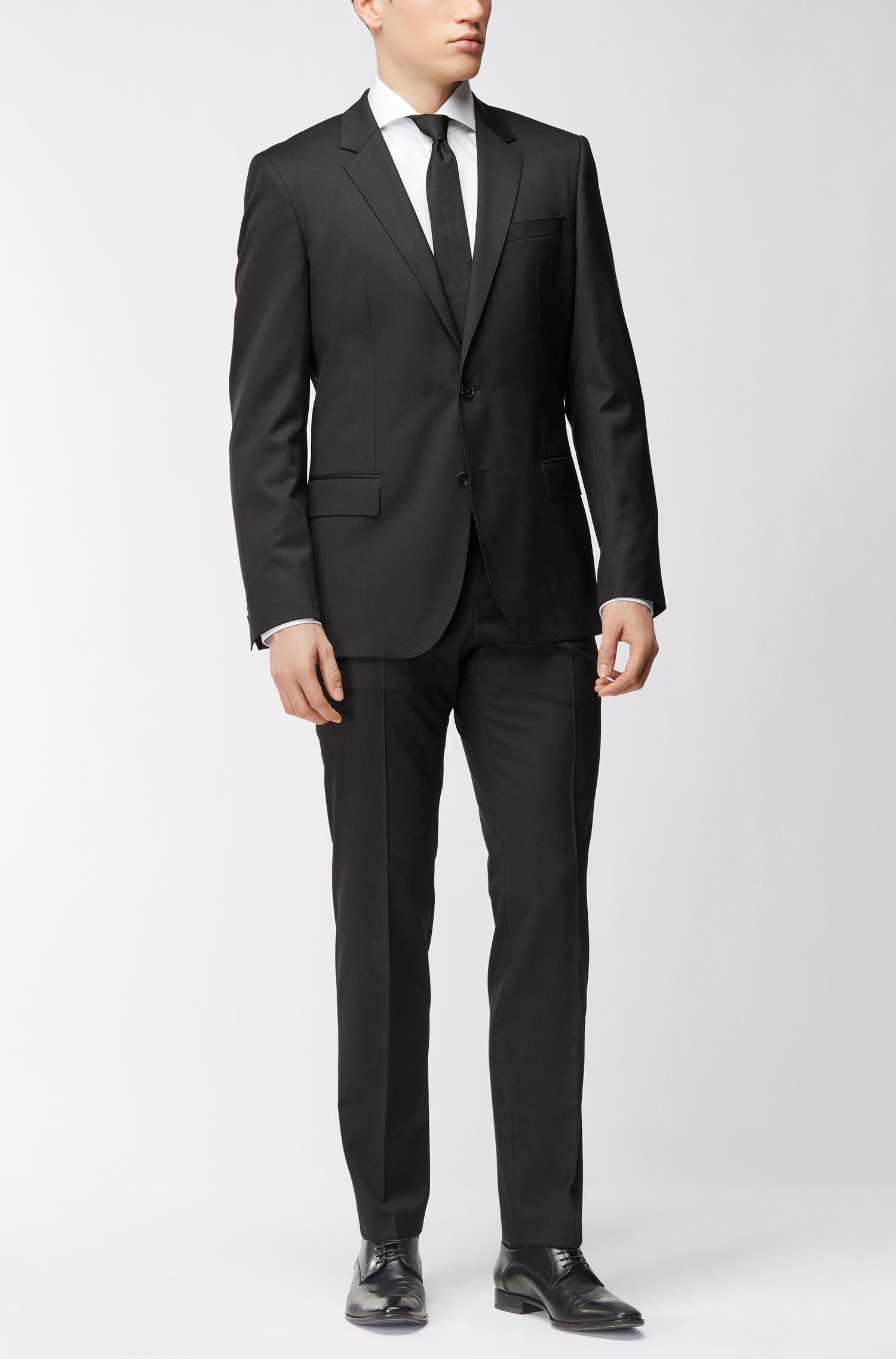 Slim-fit overhemd van tweedraadse katoen met gespreide kraag