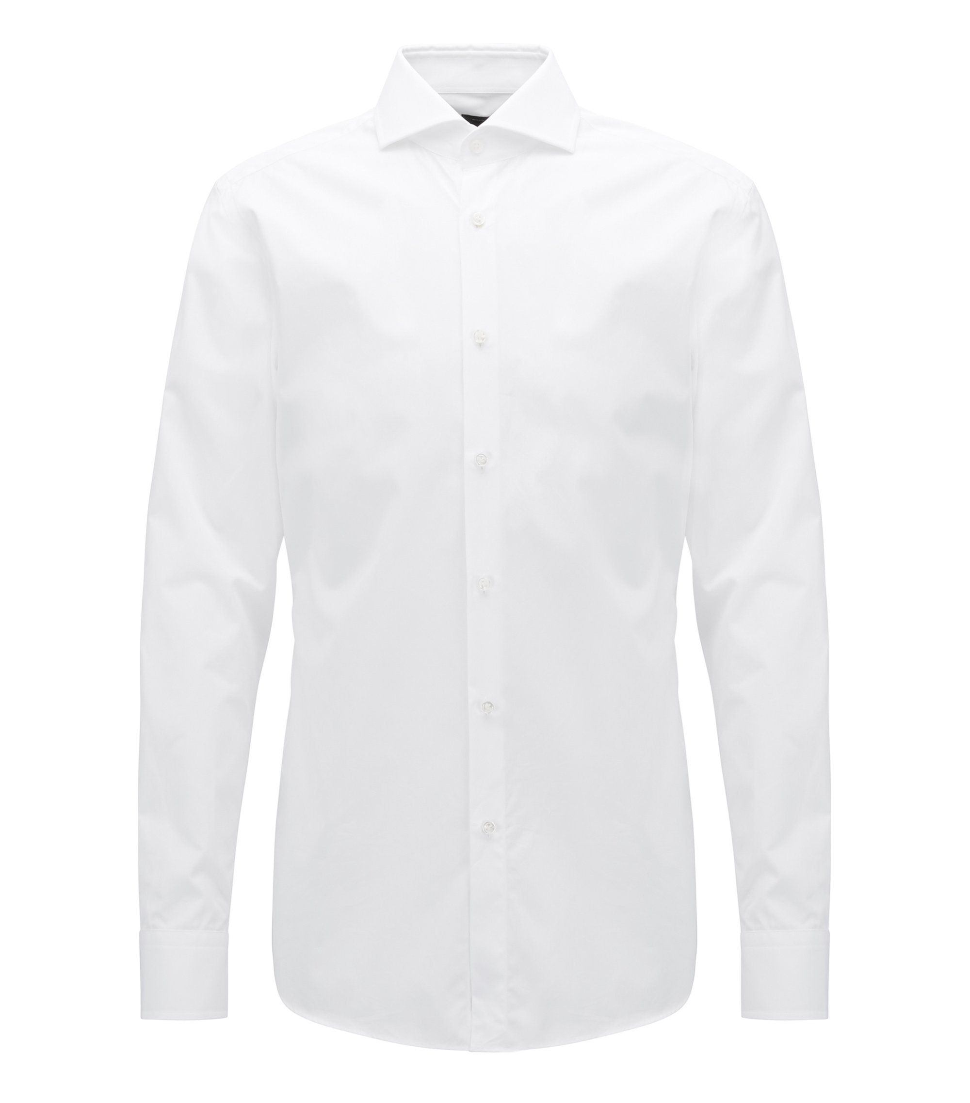 Slim-fit shirt in two-ply cotton with spread collar, Bianco