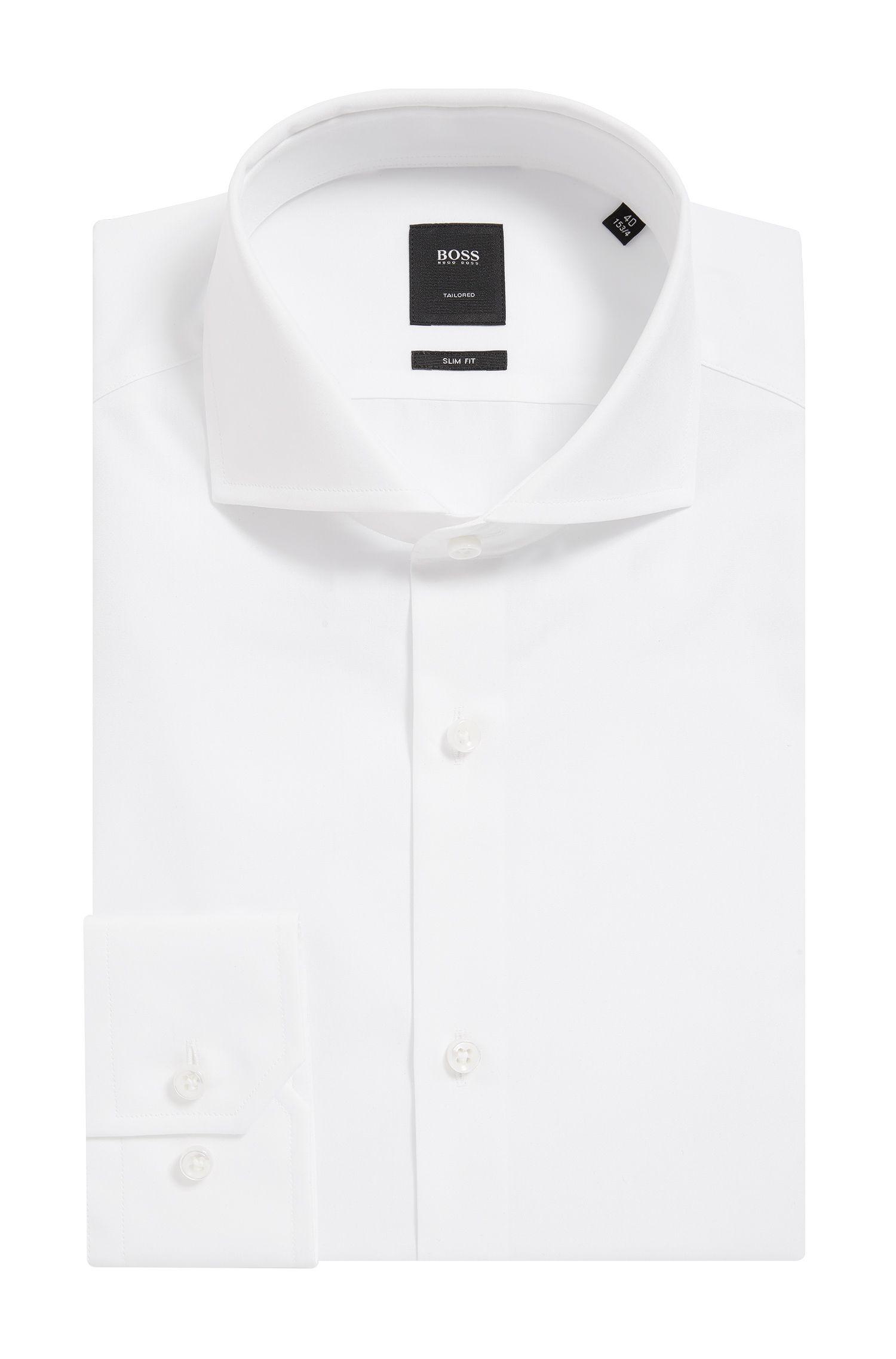 Camisa slim fit en algodón de 2 capas con cuello italiano