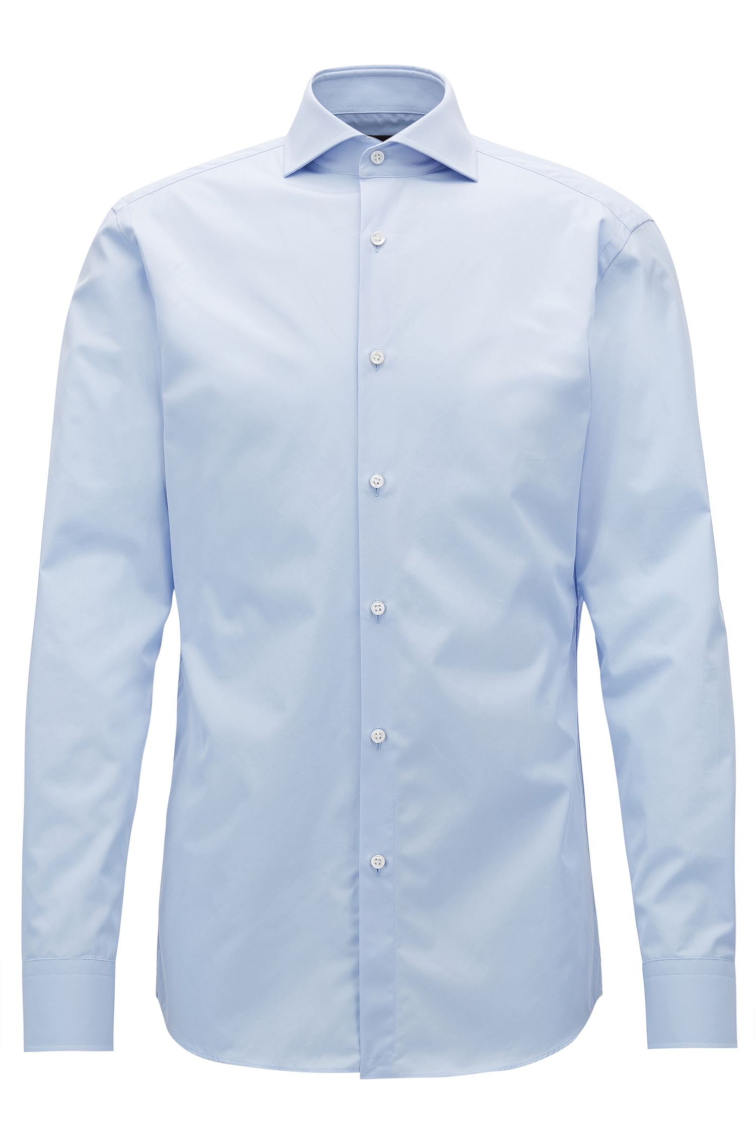 Slim-fit shirt in two-ply cotton with spread collar