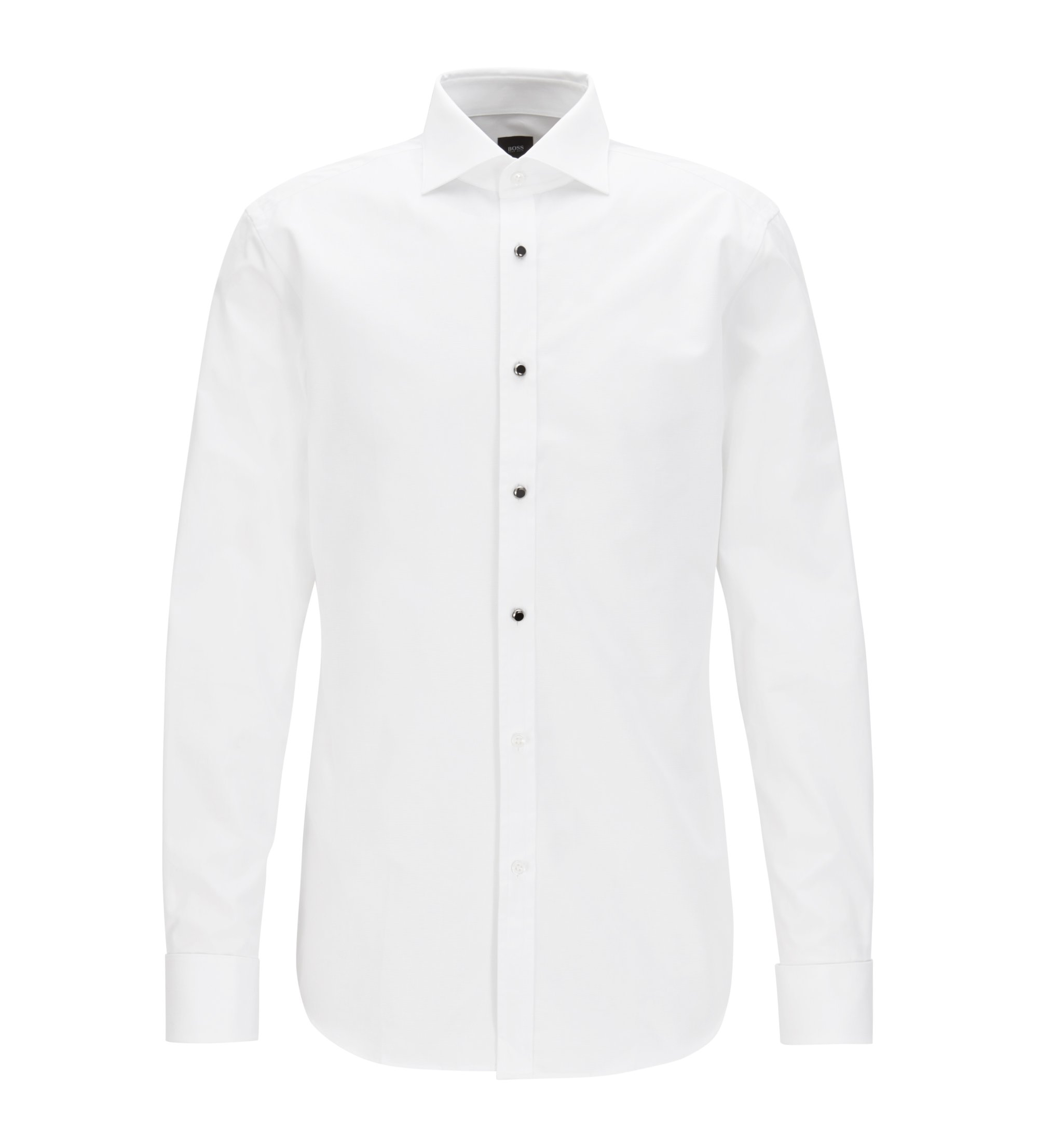 Slim-fit smokingoverhemd van Italiaanse katoen met glazen knopen, Wit