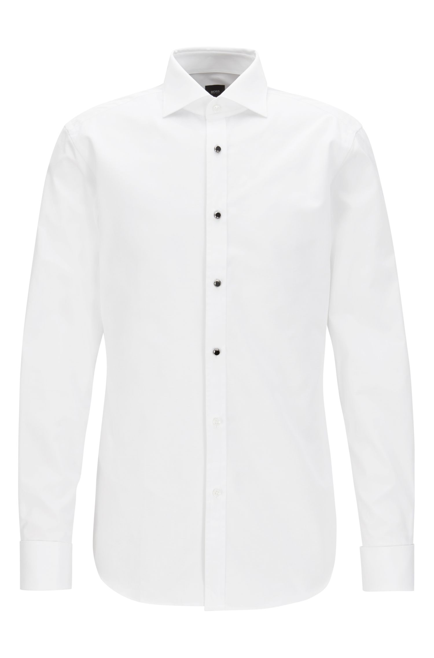 Slim-fit Italian cotton evening shirt with glass buttons