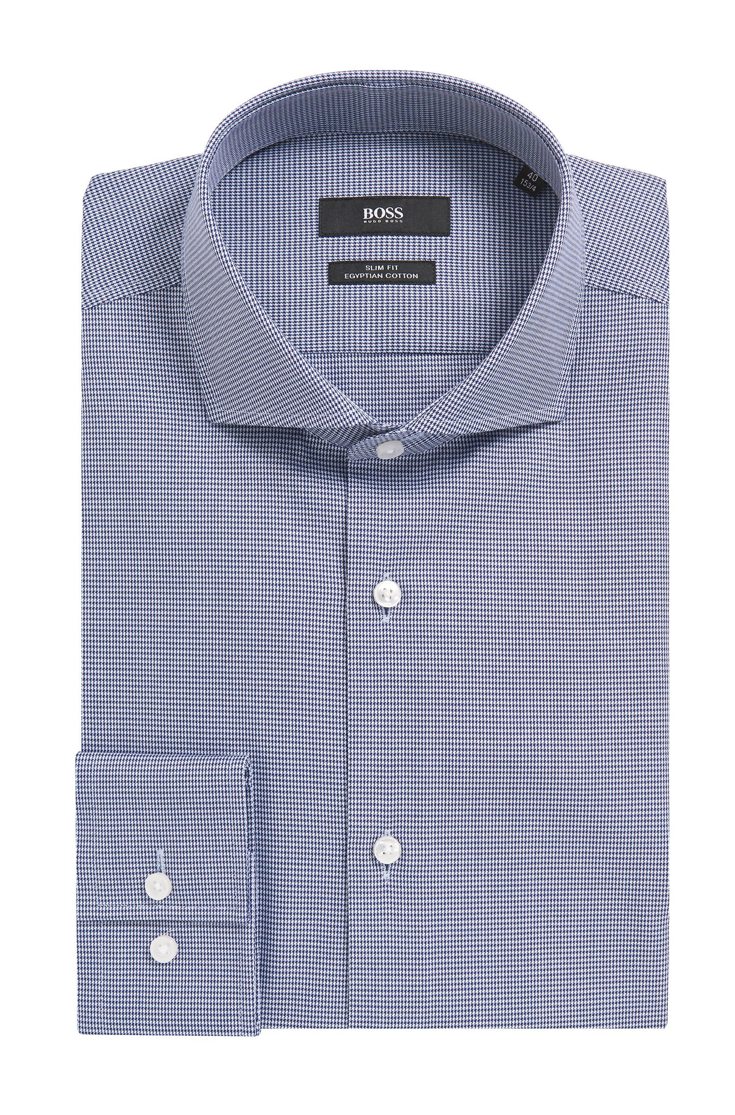 Slim-fit Egyptian-cotton shirt with pepita motif
