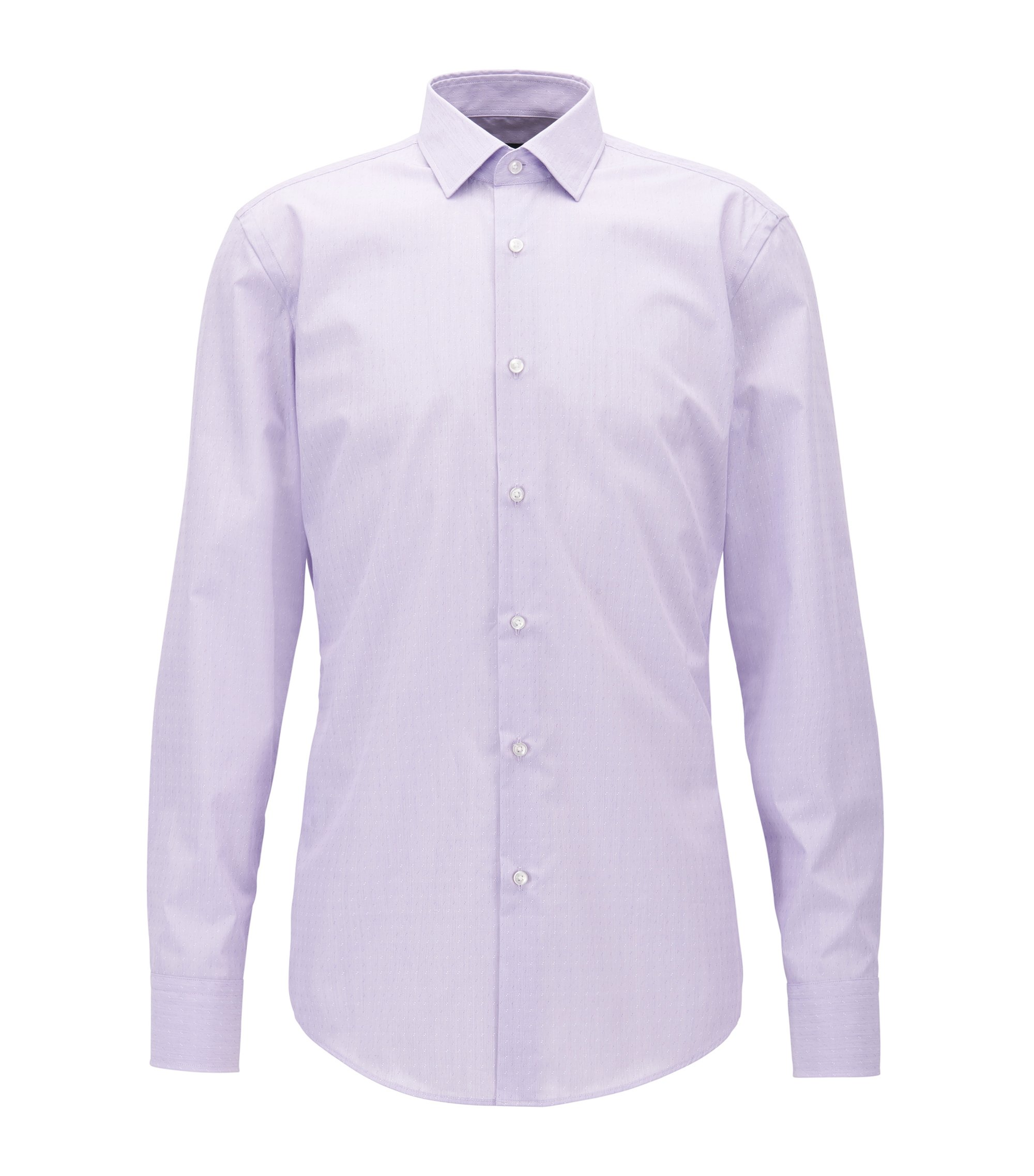 Slim-fit Egyptian-cotton shirt with alternated dobby pattern, Light Purple