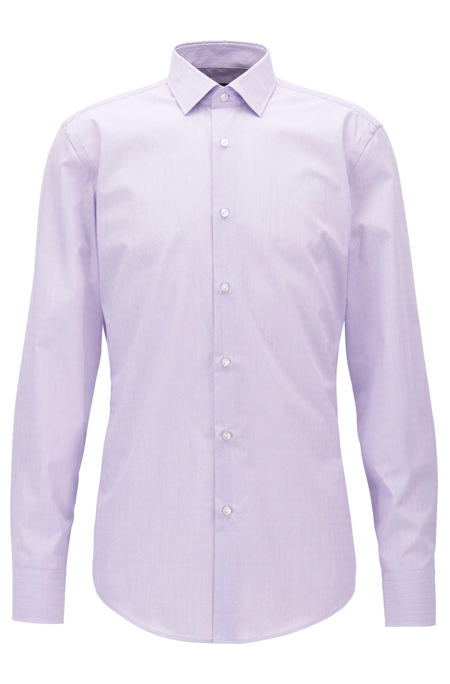 Slim-fit overhemd van Egyptische katoen met afwisselend dobbydessin