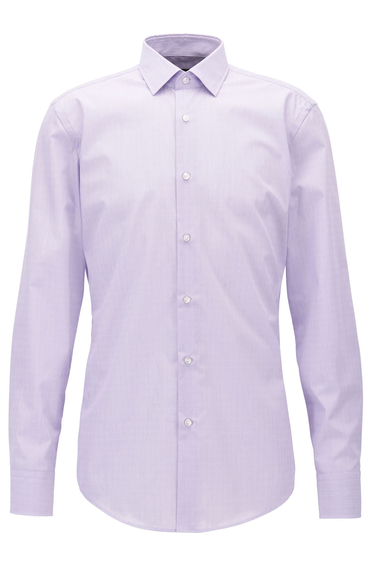 Slim-fit Egyptian-cotton shirt with alternated dobby pattern