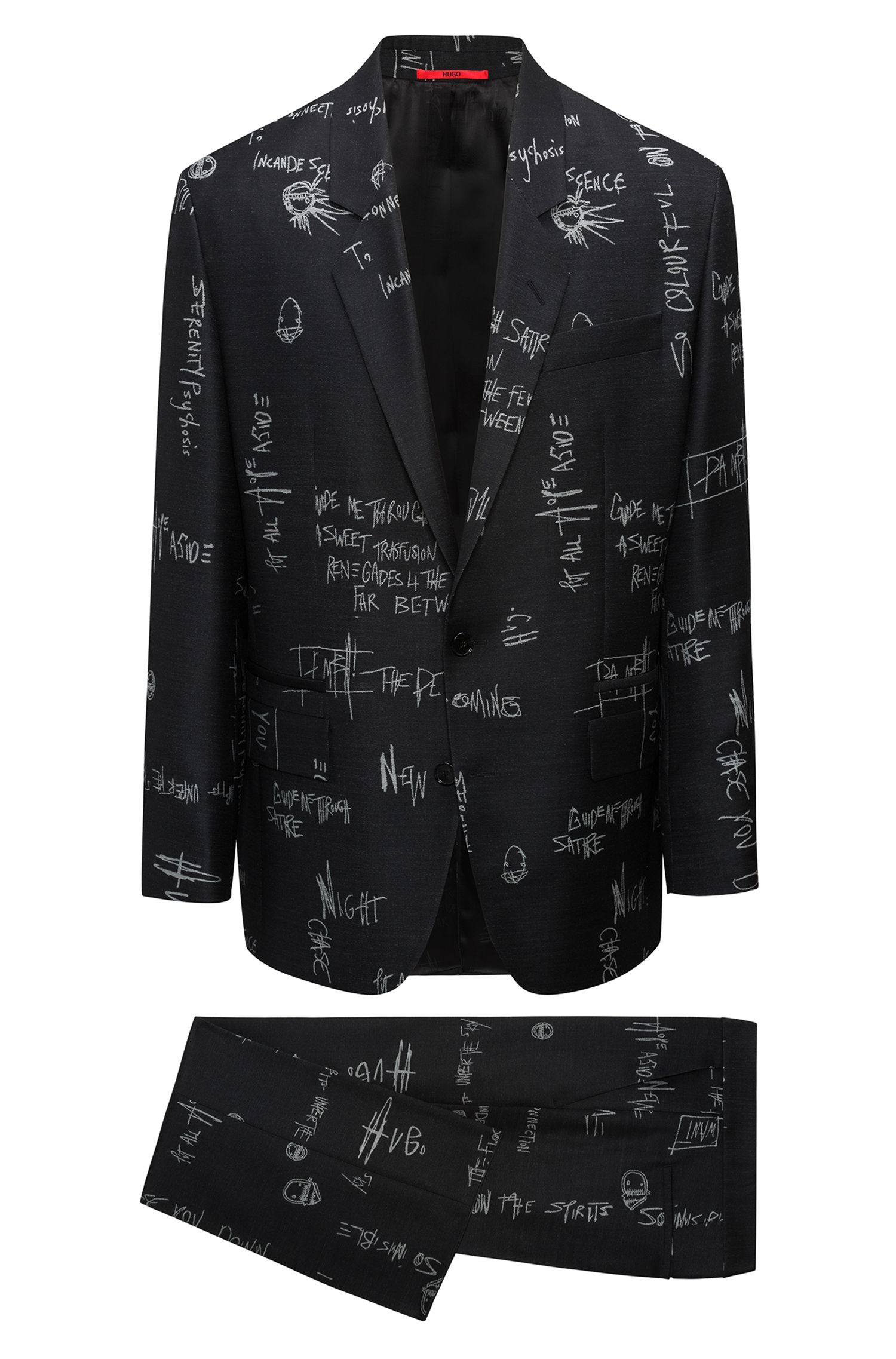 Graffiti-patterned oversized-fit suit in virgin-wool jacquard