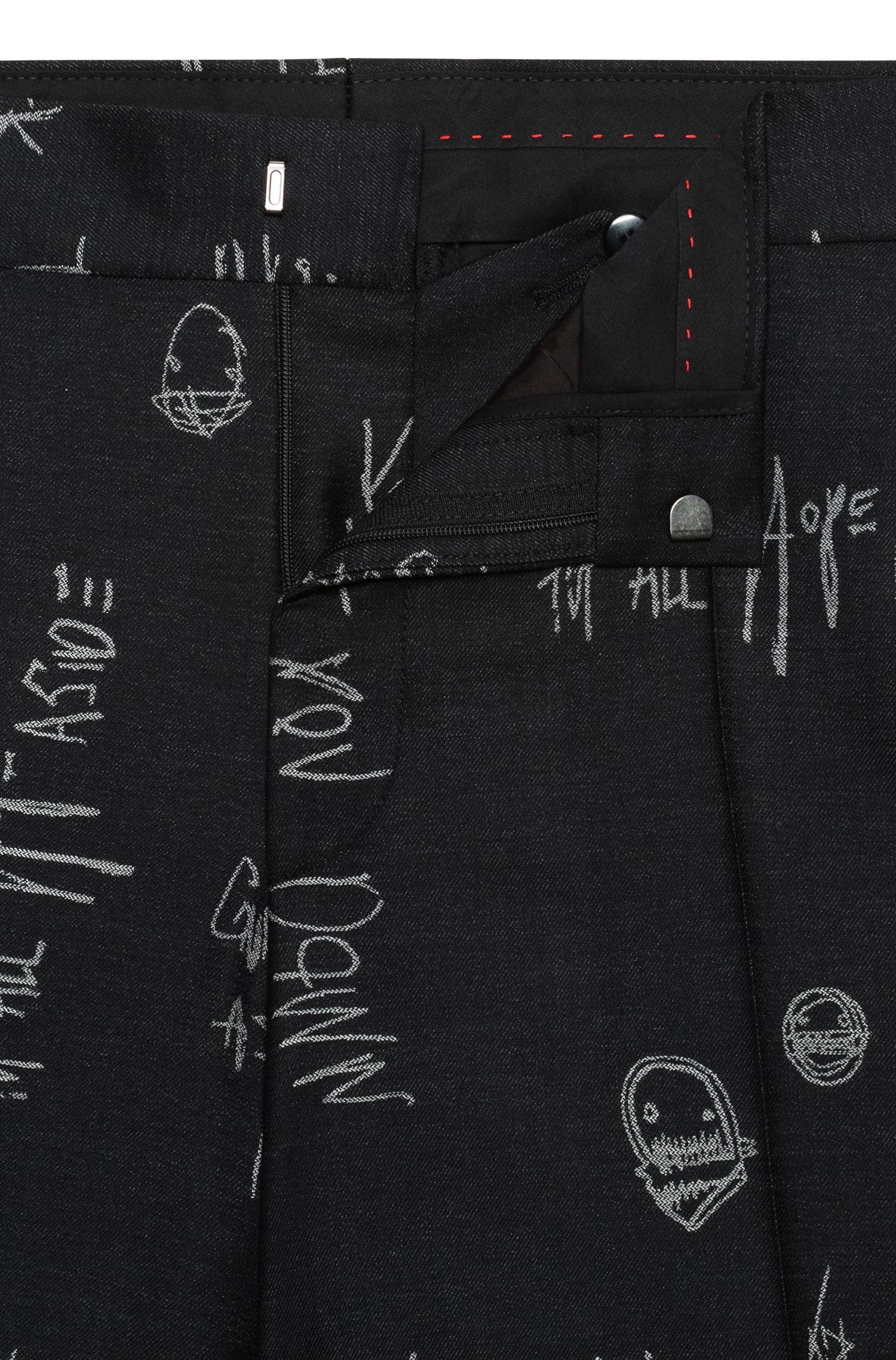 Abito oversize con motivo ispirato ai graffiti in lana vergine jacquard